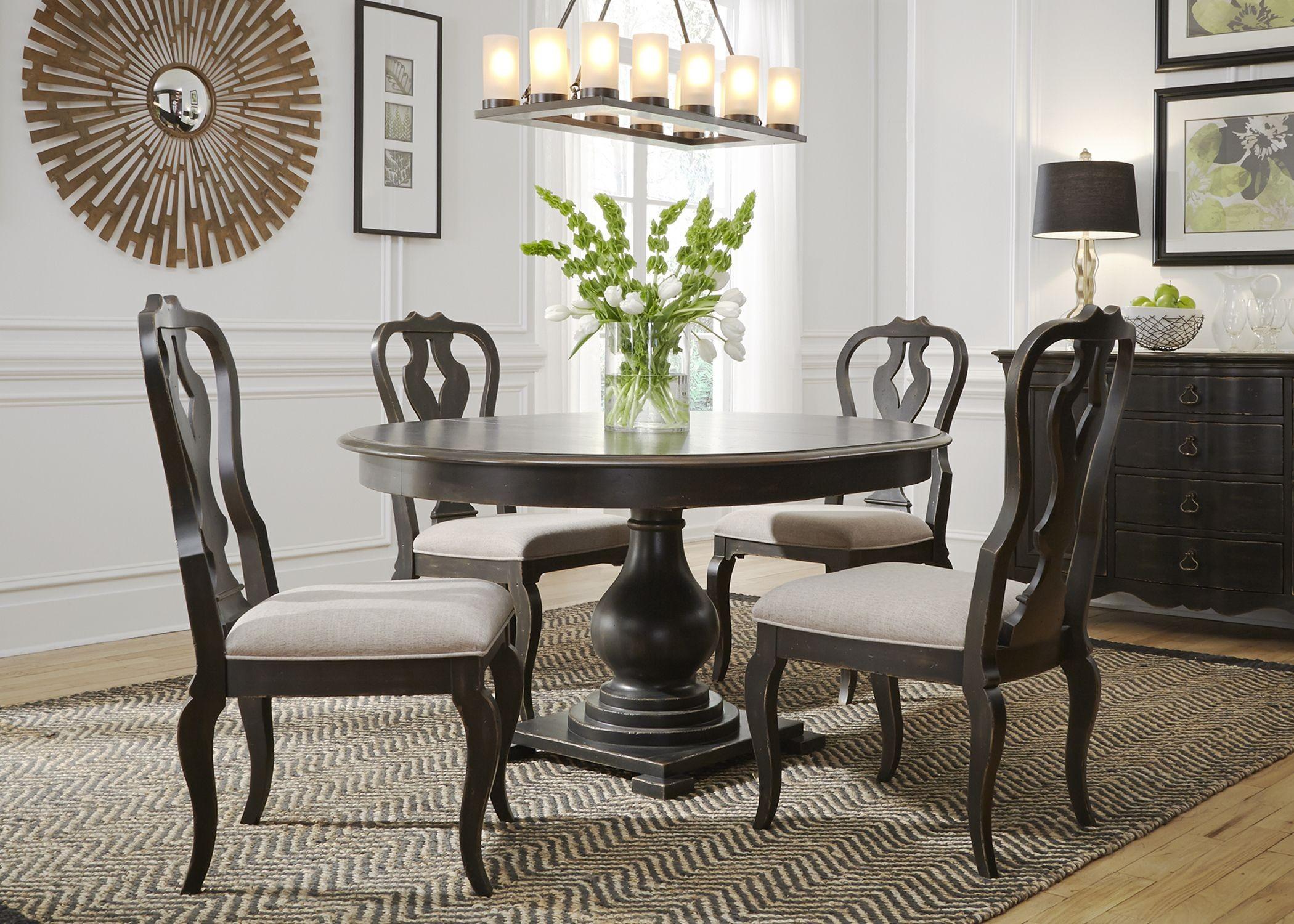 Chesapeake Antique Black Extendable Round Dining Room Set ...