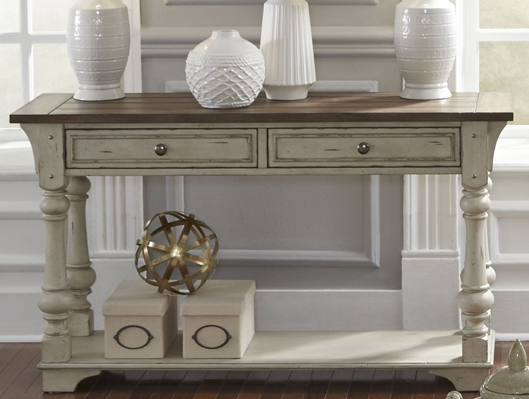 Morgan Creek Antique White Sofa Table