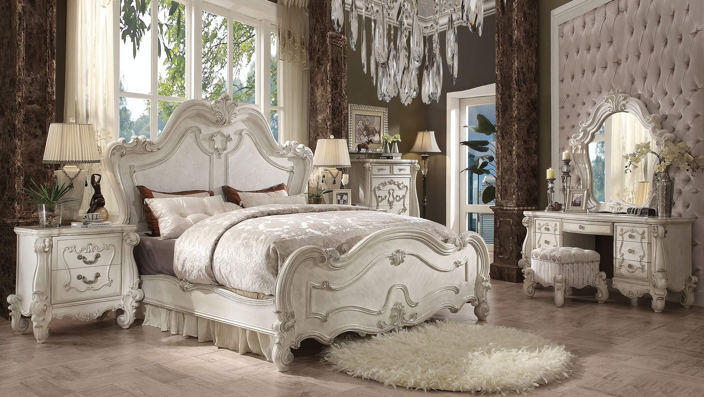 Acme Versailles Bedroom Set In Bone White 1stopbedrooms