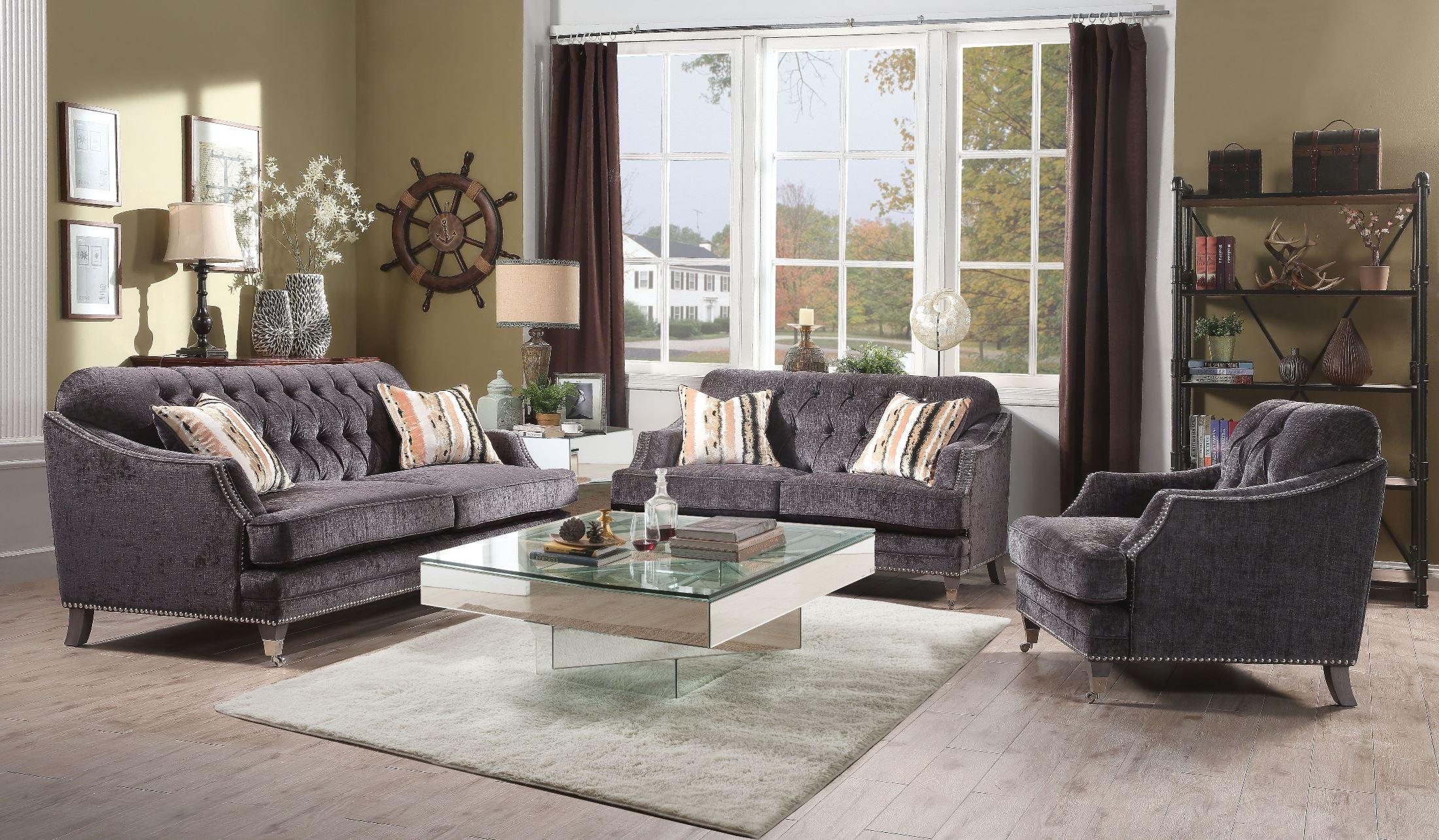 Helenium Gray Chenille Living Room Set