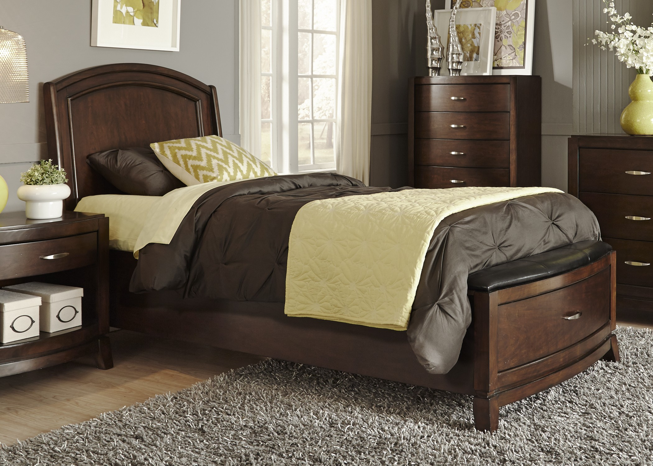 Avalon Truffle Youth Leather Storage Bedroom Set Media Gallery 1