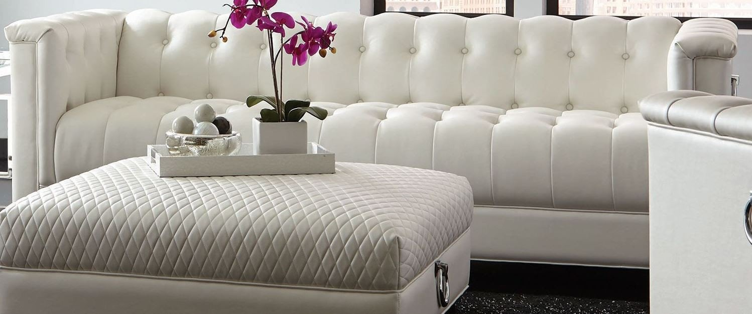 Chaviano Sofa In White Leatherette 505391 By Coaster W Options: Coaster Chaviano Pearl White Living Room Set