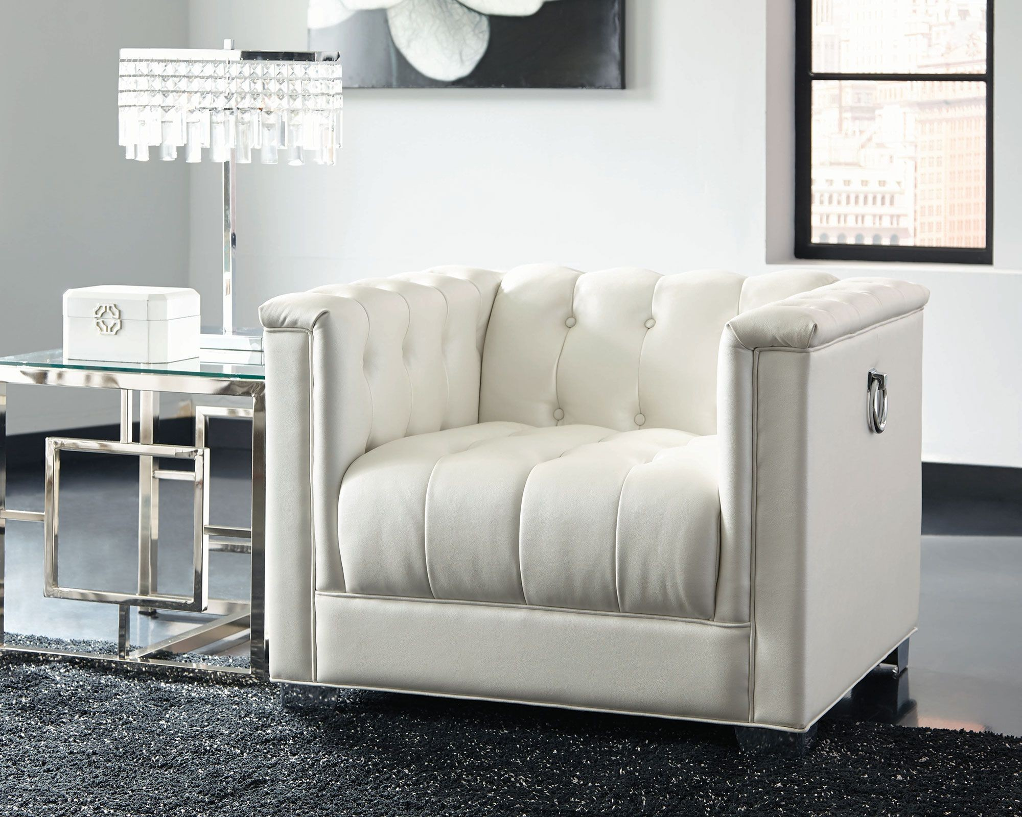 Chaviano Pearl White Living Room Set Media Gallery 3