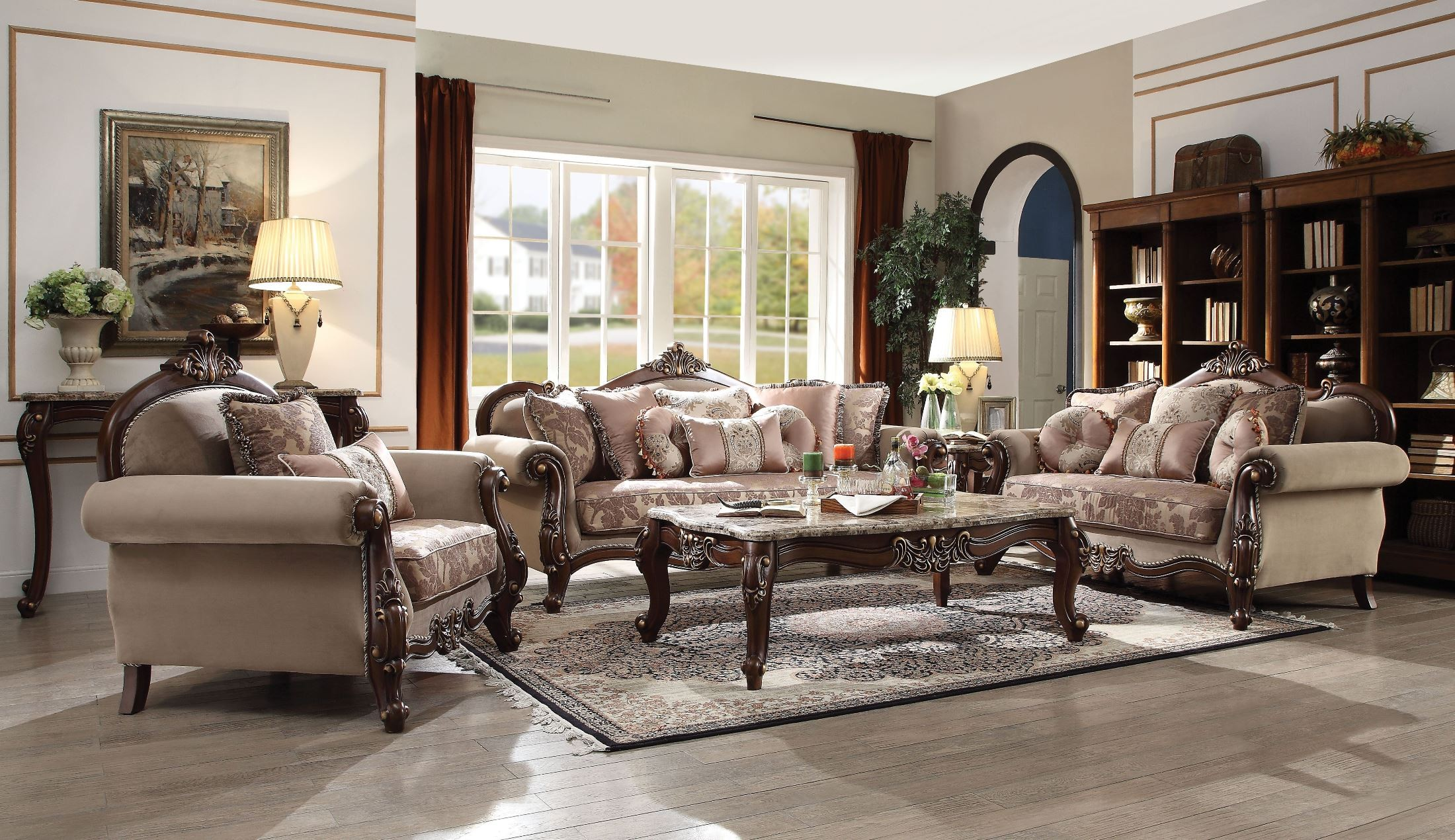 Mehadi Walnut Living Room Set