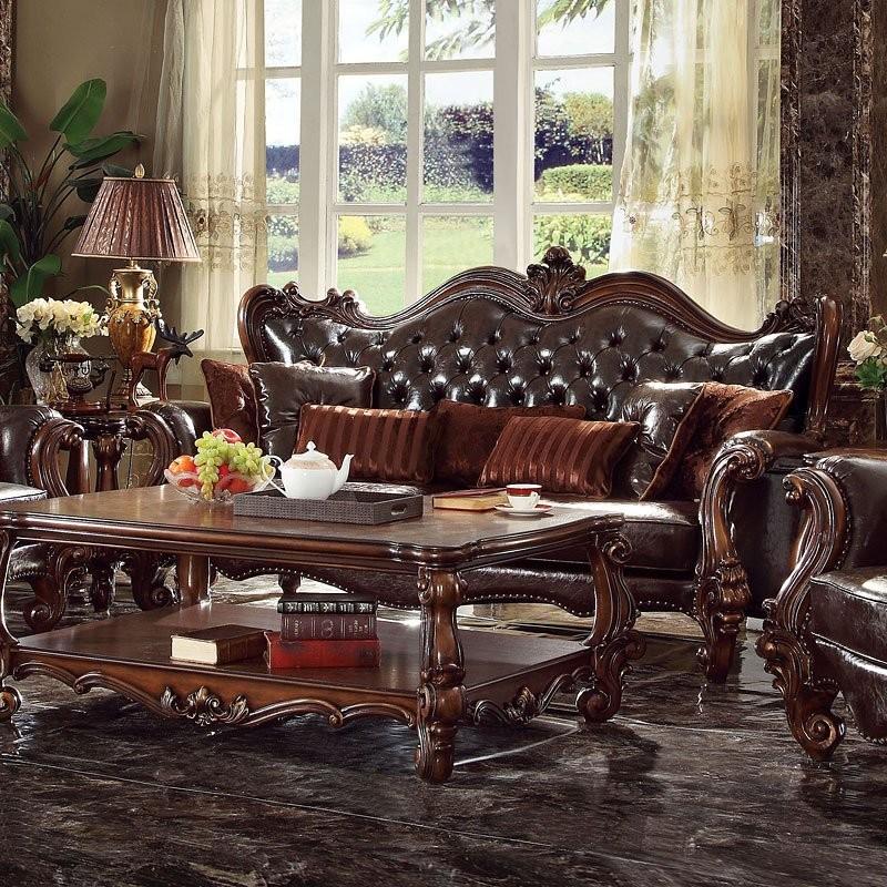 Versailles Living Room Set (Dark Brown PU)