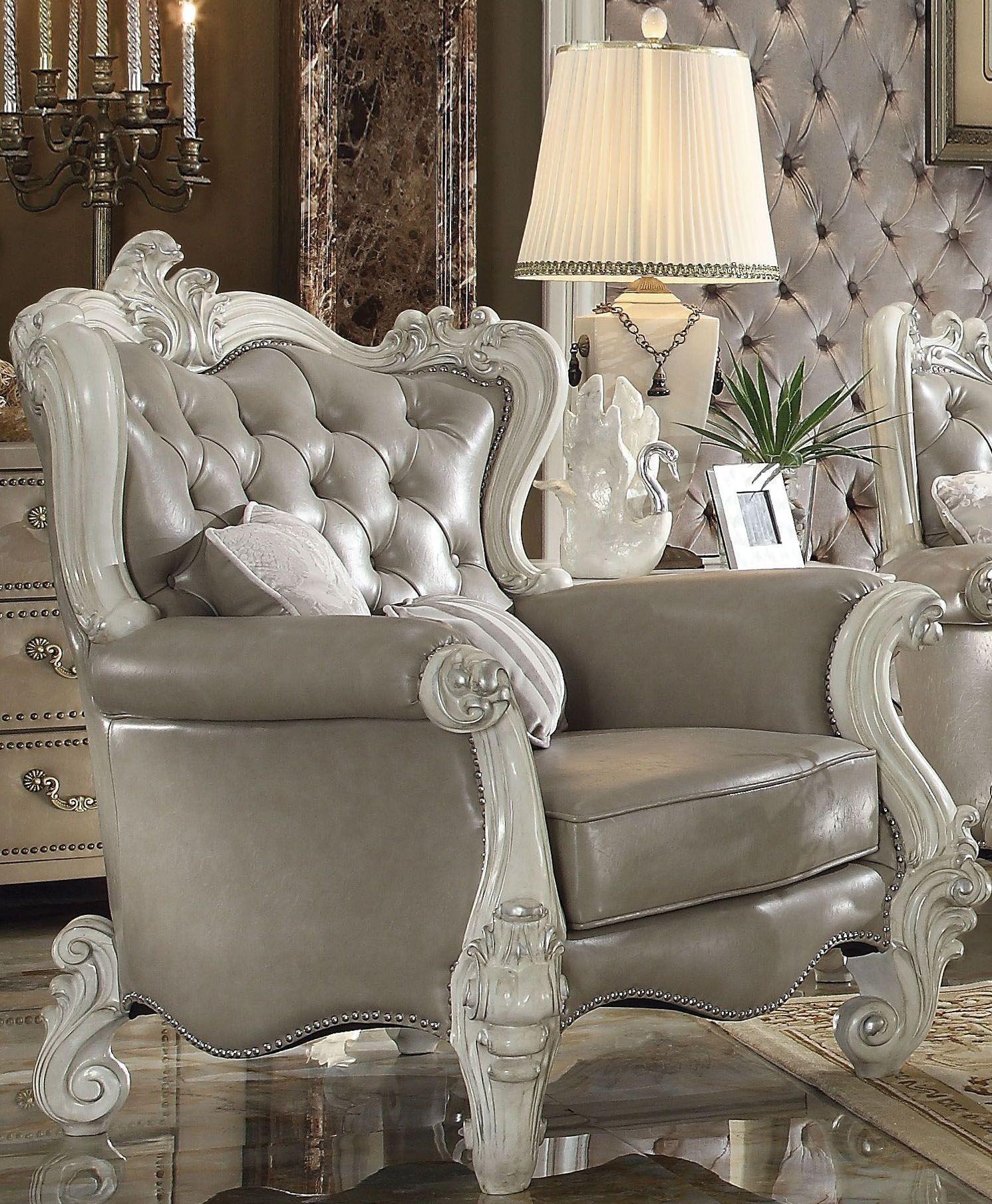 ACME Versailles Vintage Gray Bone White Living Room Set