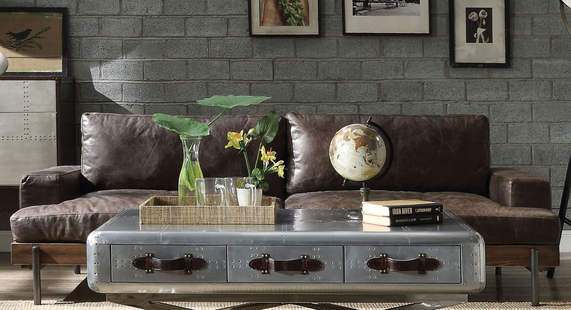 Silchester Distress Chocolate Leather Living Room Set