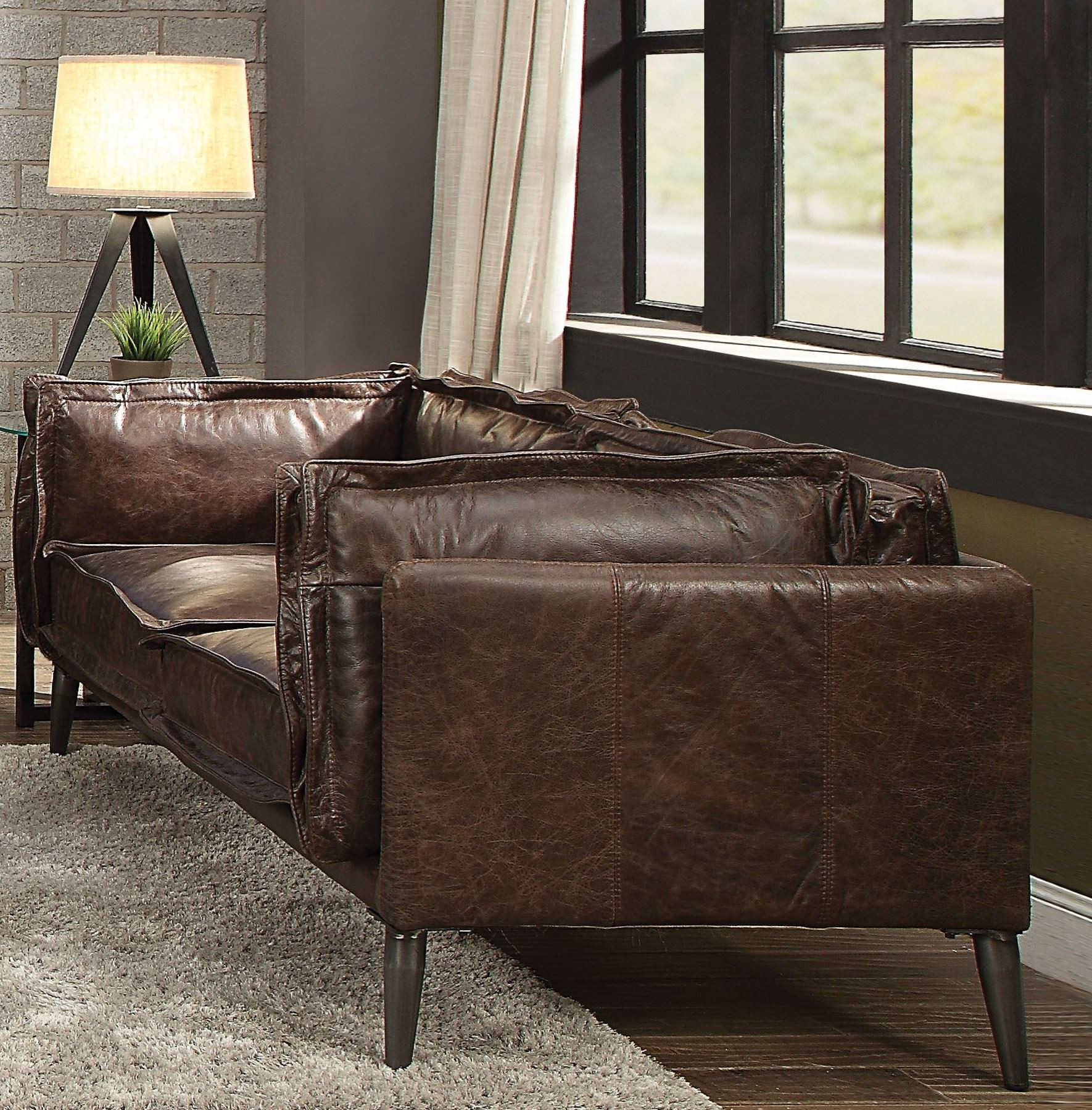Porchester Distress Chocolate Leather Loveseat 1stopbedrooms