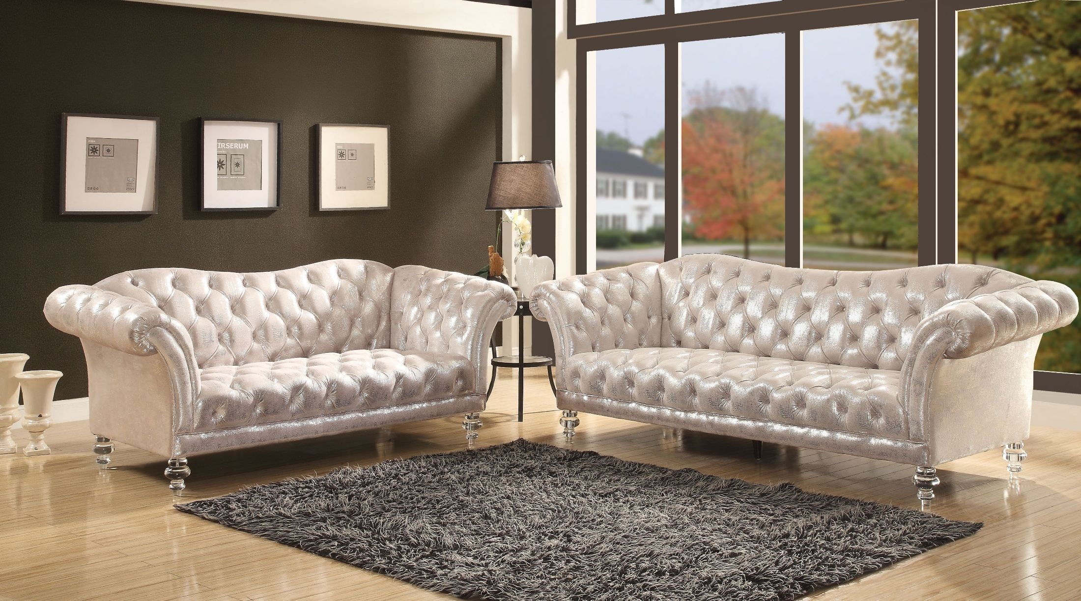 Dixie Metallic Silver Living Room Set