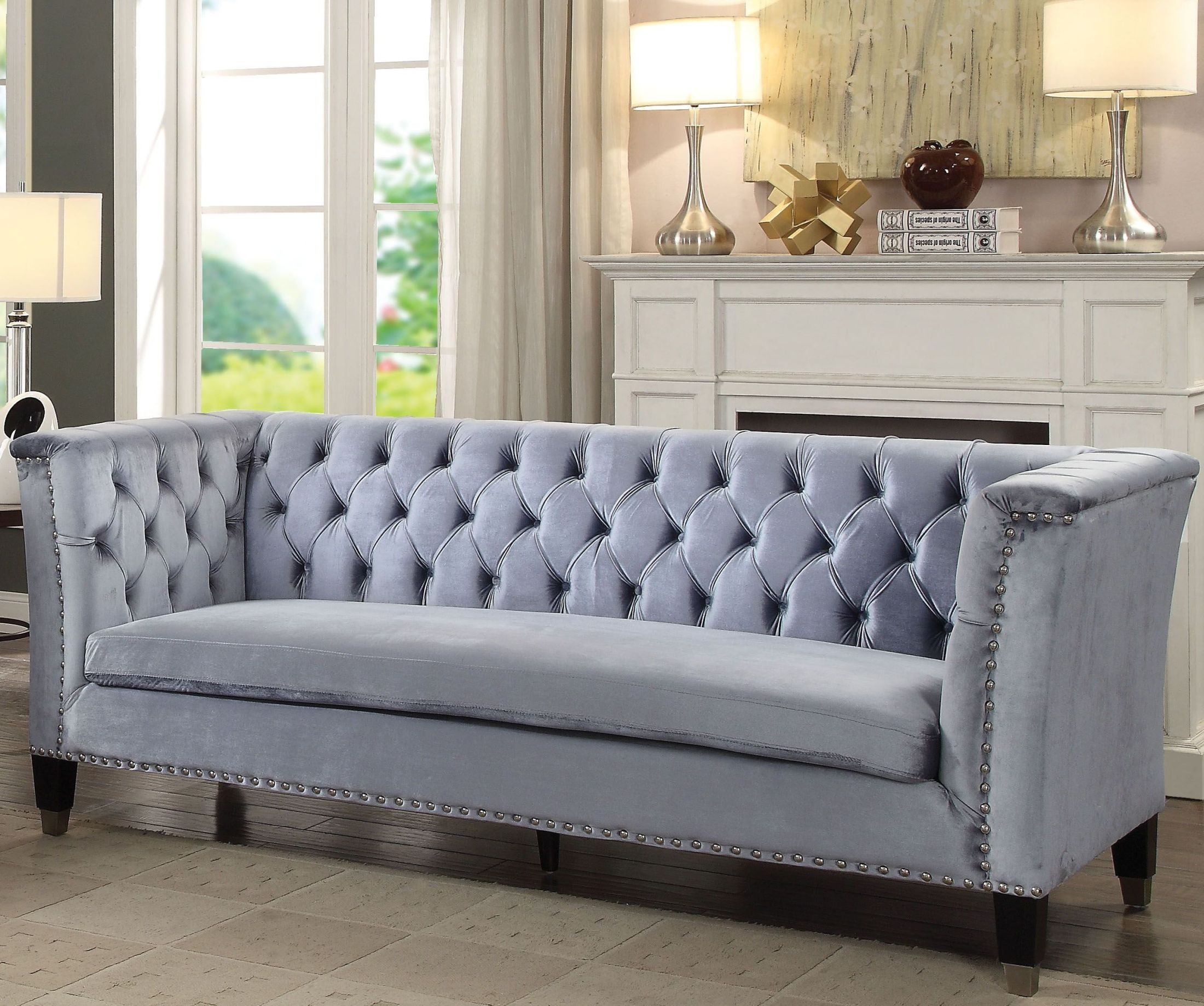 Picture of: Honor Blue Gray Velvet Sofa 1stopbedrooms