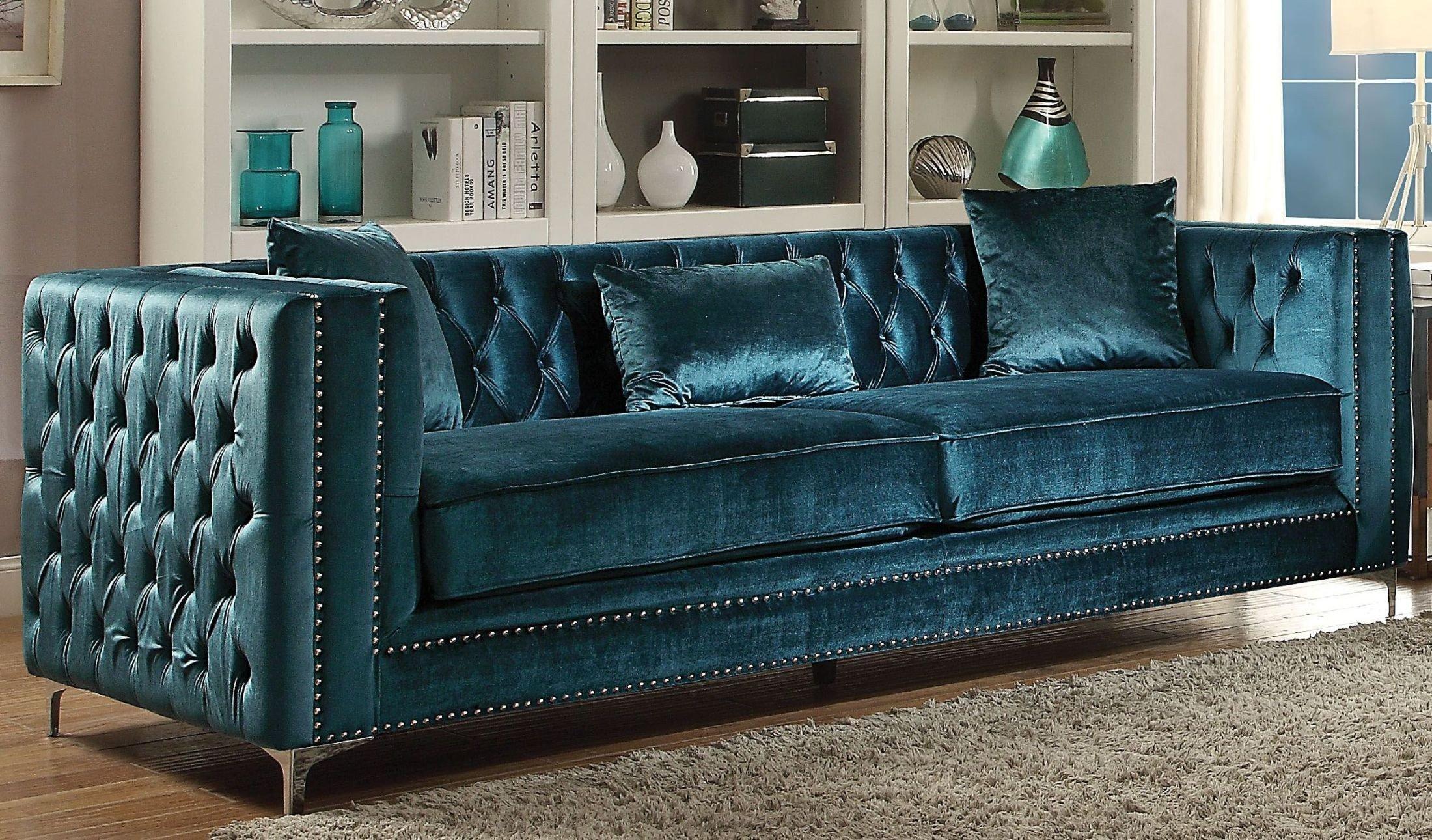 Gillian Dark Teal Velvet Sofa   1StopBedrooms.