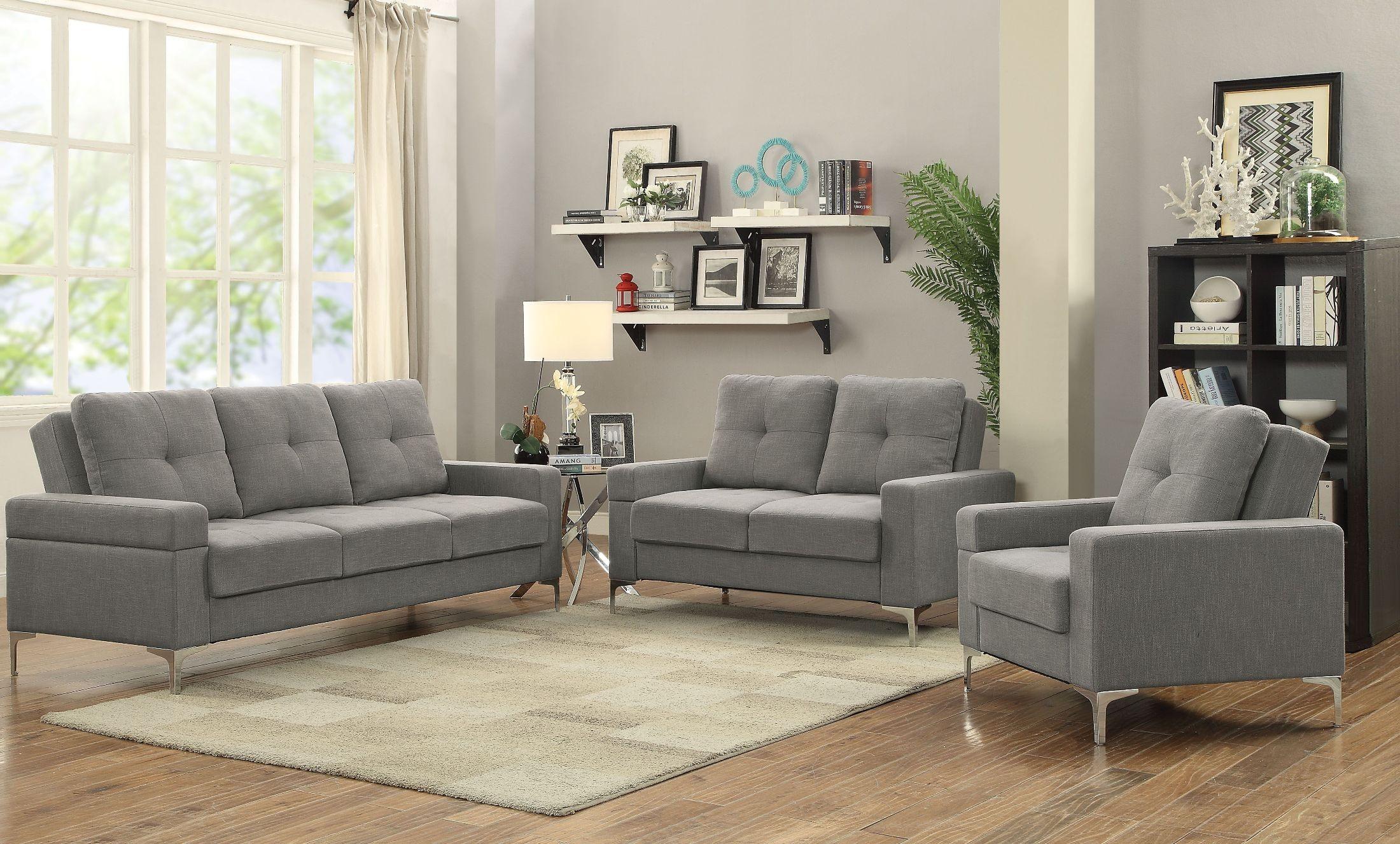 Dorian gray linen adjustable living room set media gallery