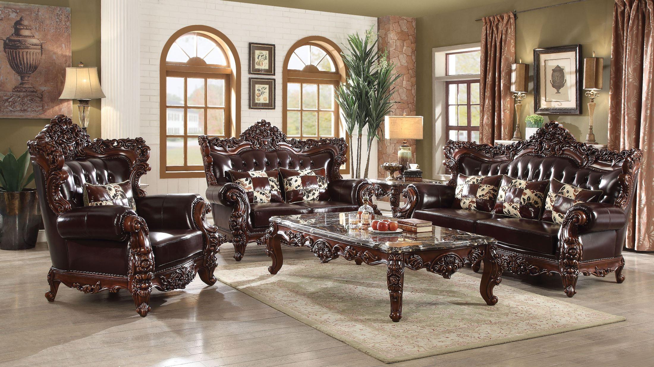 Forsythia Espresso Leather Match Living Room Set ...