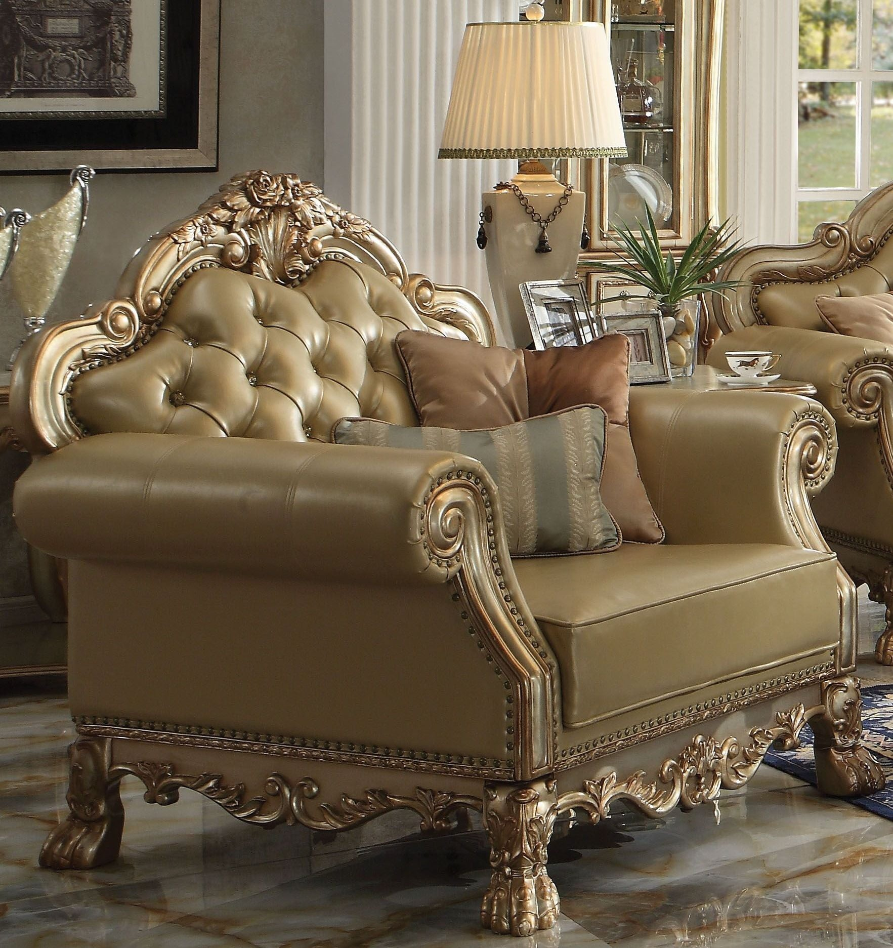 Dresden Bone Gold Patina Living Room Set 1stopbedrooms