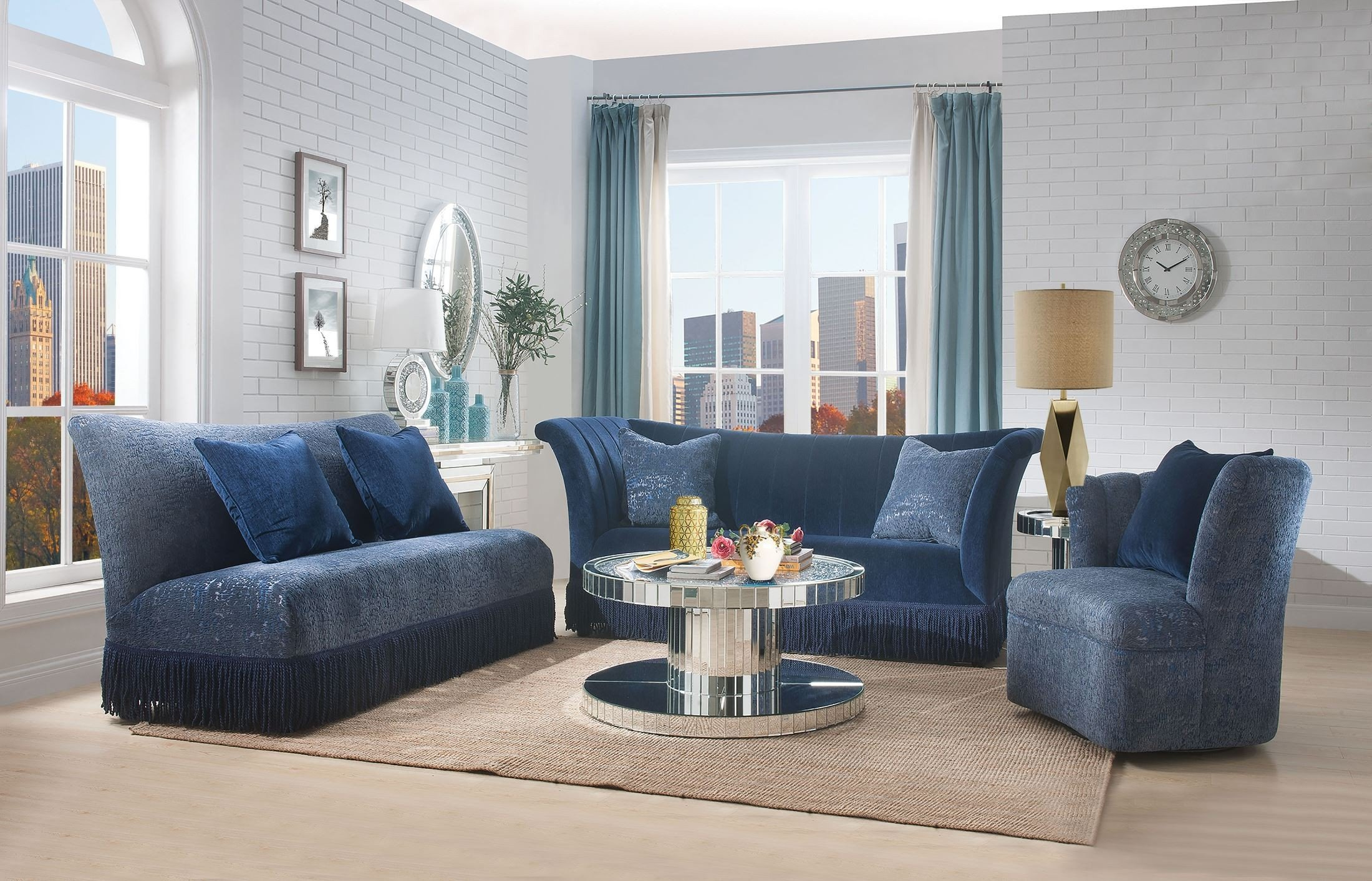 Ordinaire Kaffir Blue Living Room Set