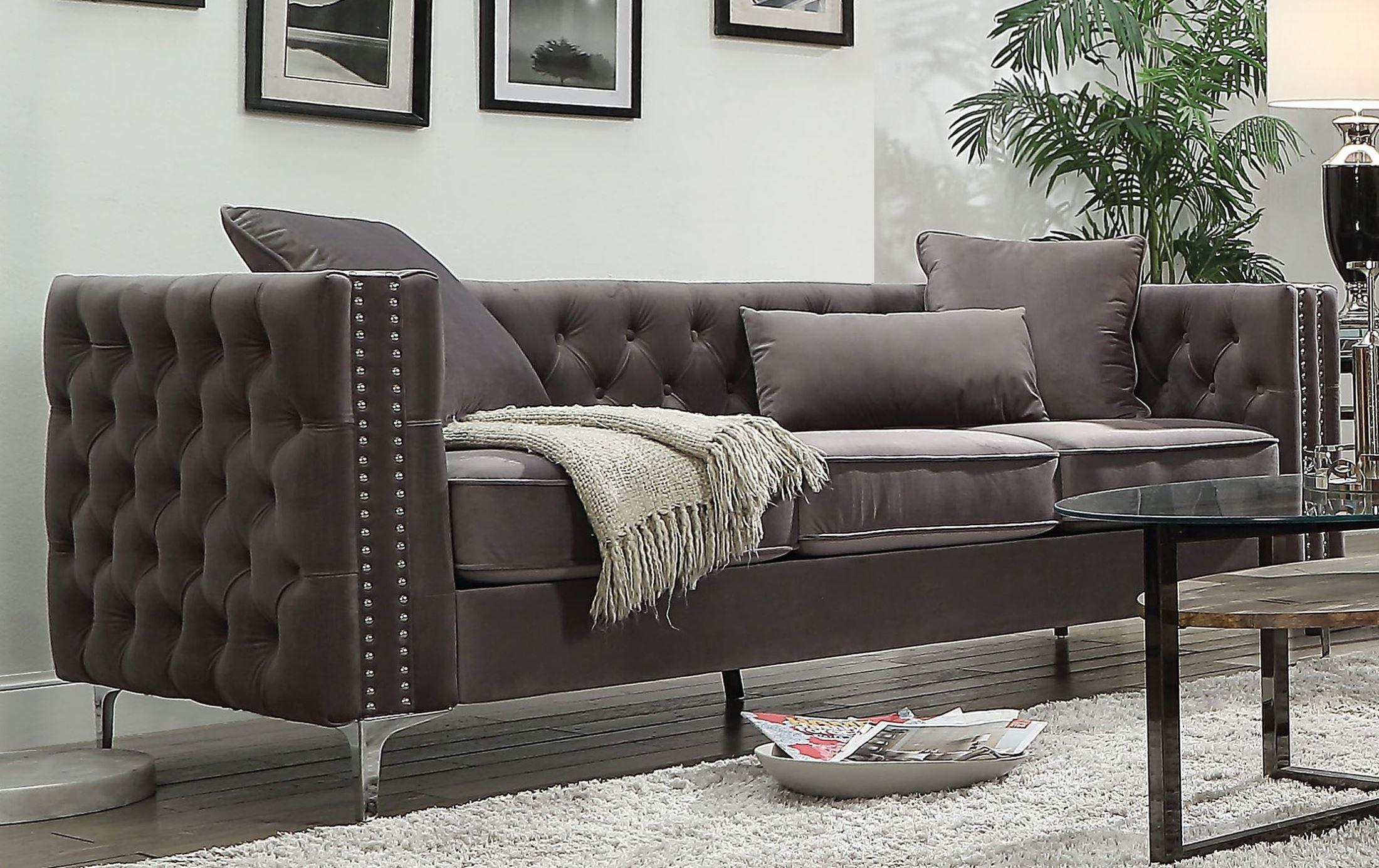 Gillian Ii Dark Gray Velvet Sofa 1stopbedrooms