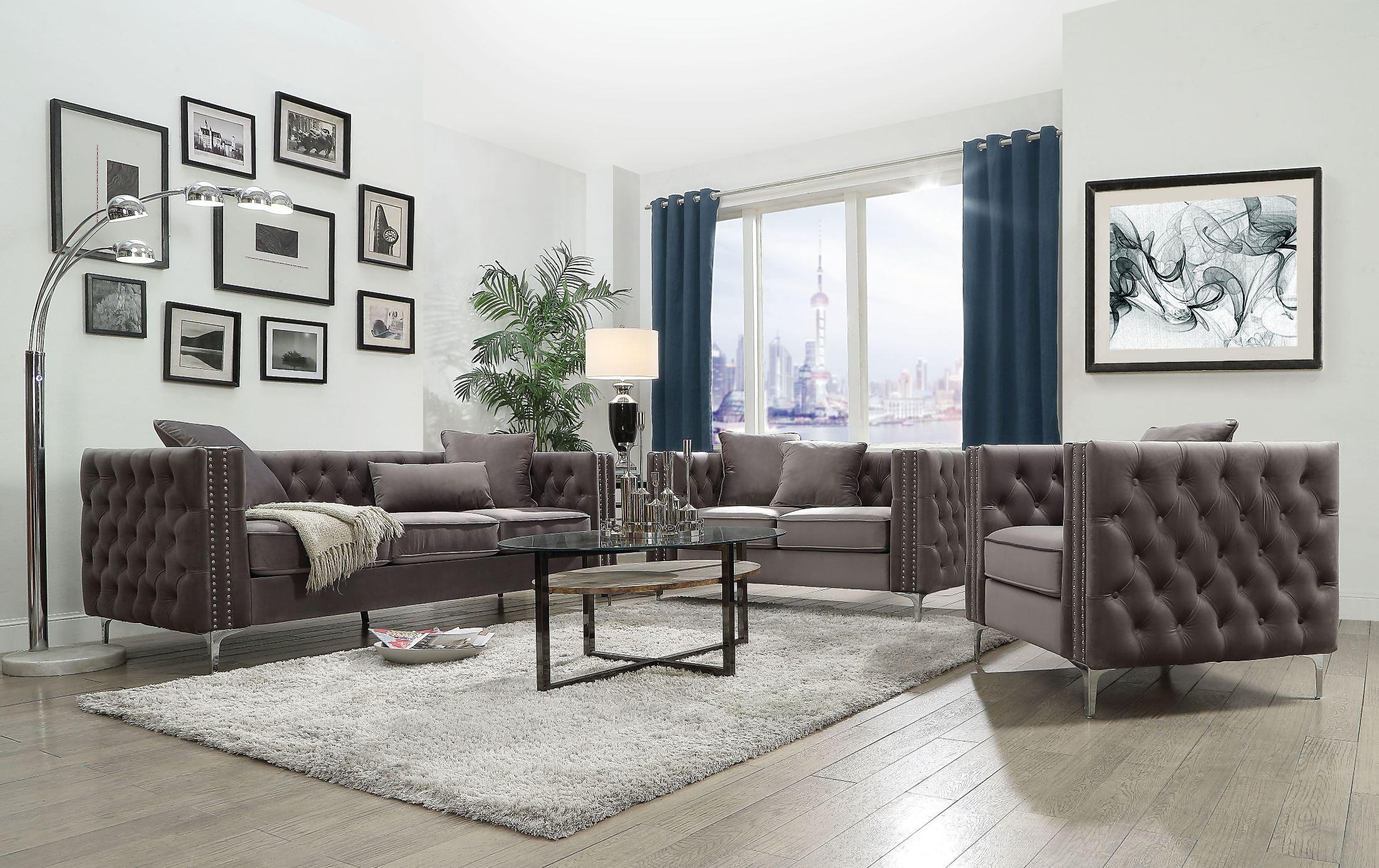 Gillian ii dark gray velvet sofa media gallery 2