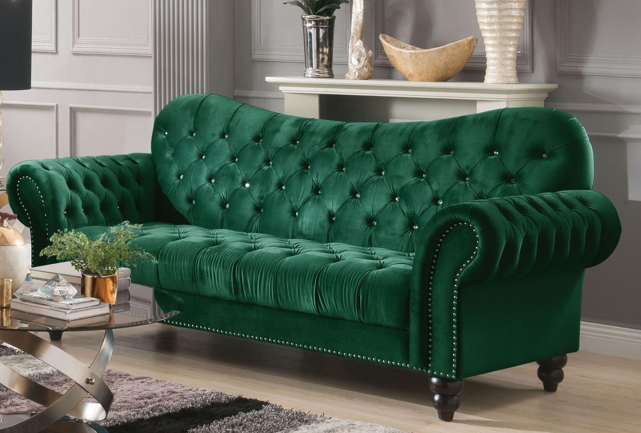 Iberis Green Velvet Sofa 1stopbedrooms