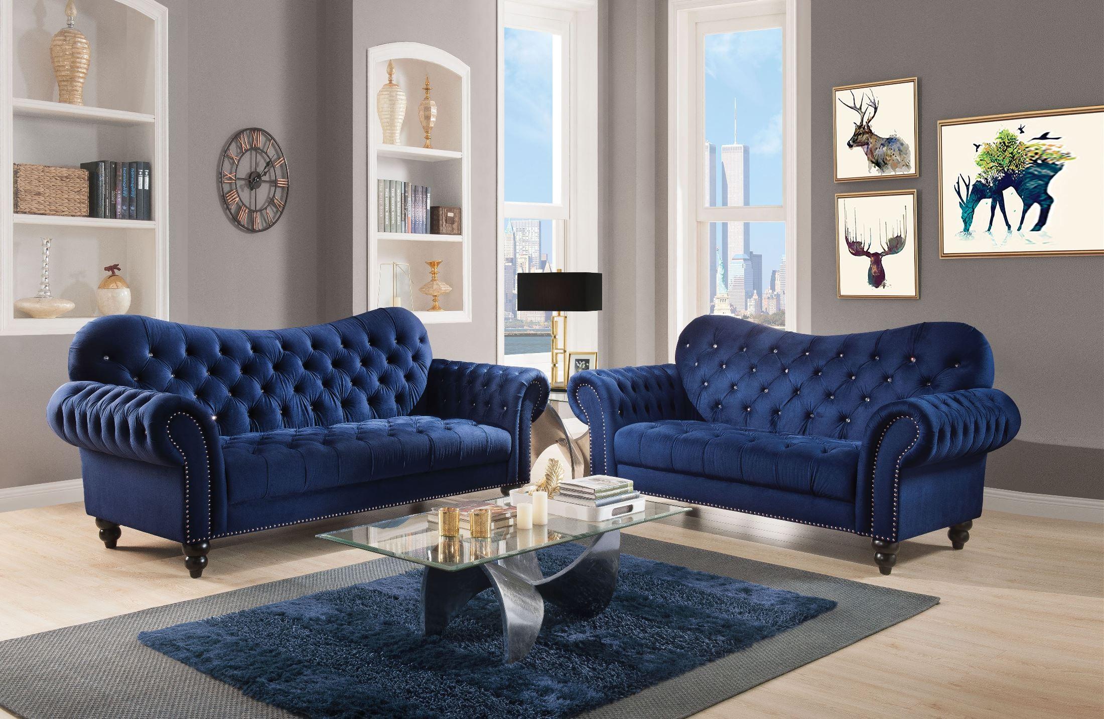 Iberis Navy Velvet Living Room Set