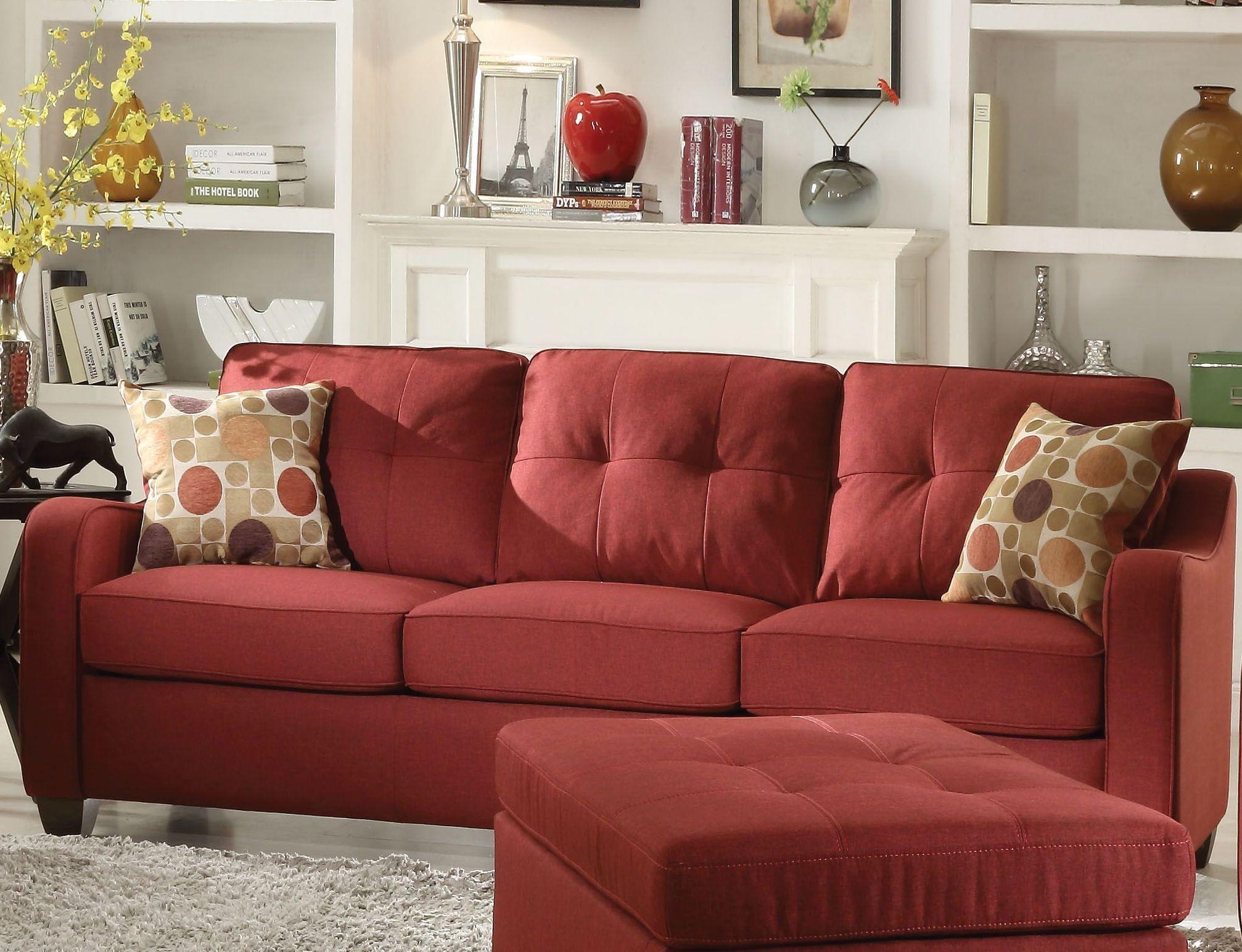 Cleavon Ii Red Linen Sofa 1stopbedrooms