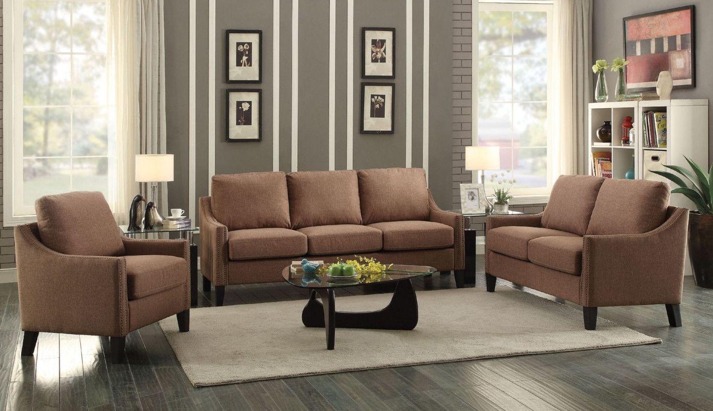 Zapata jr brown linen sofa media gallery 1