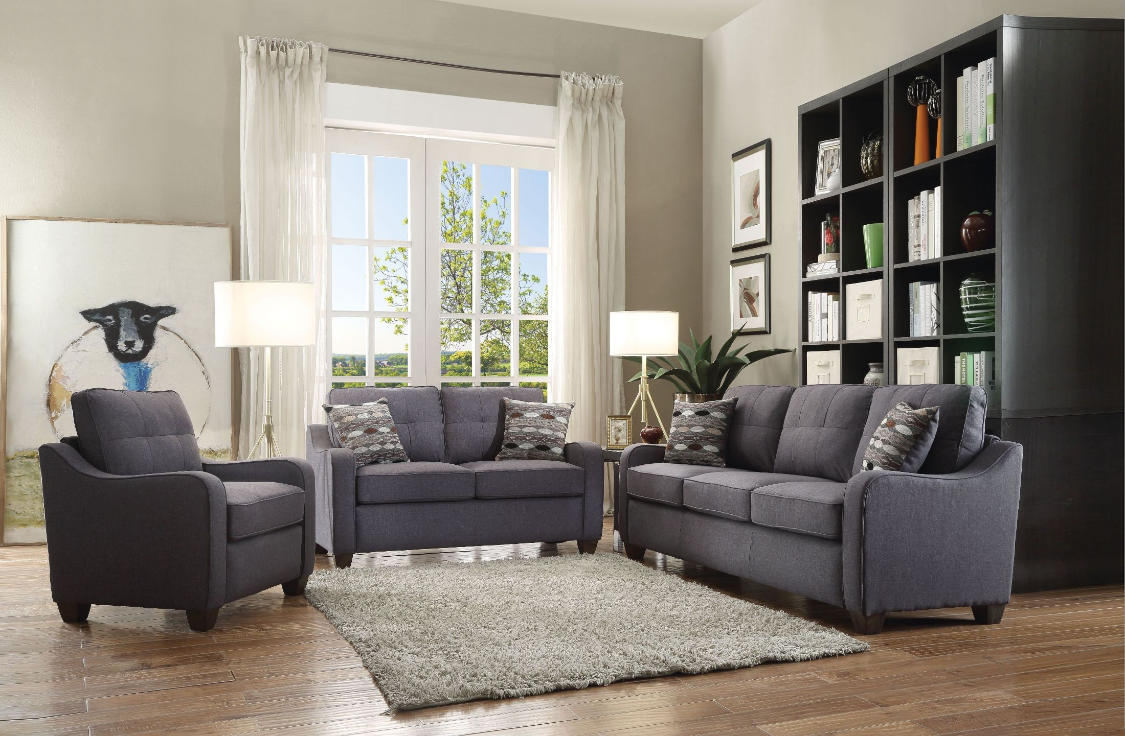 Cleavon ii gray linen living room set media gallery