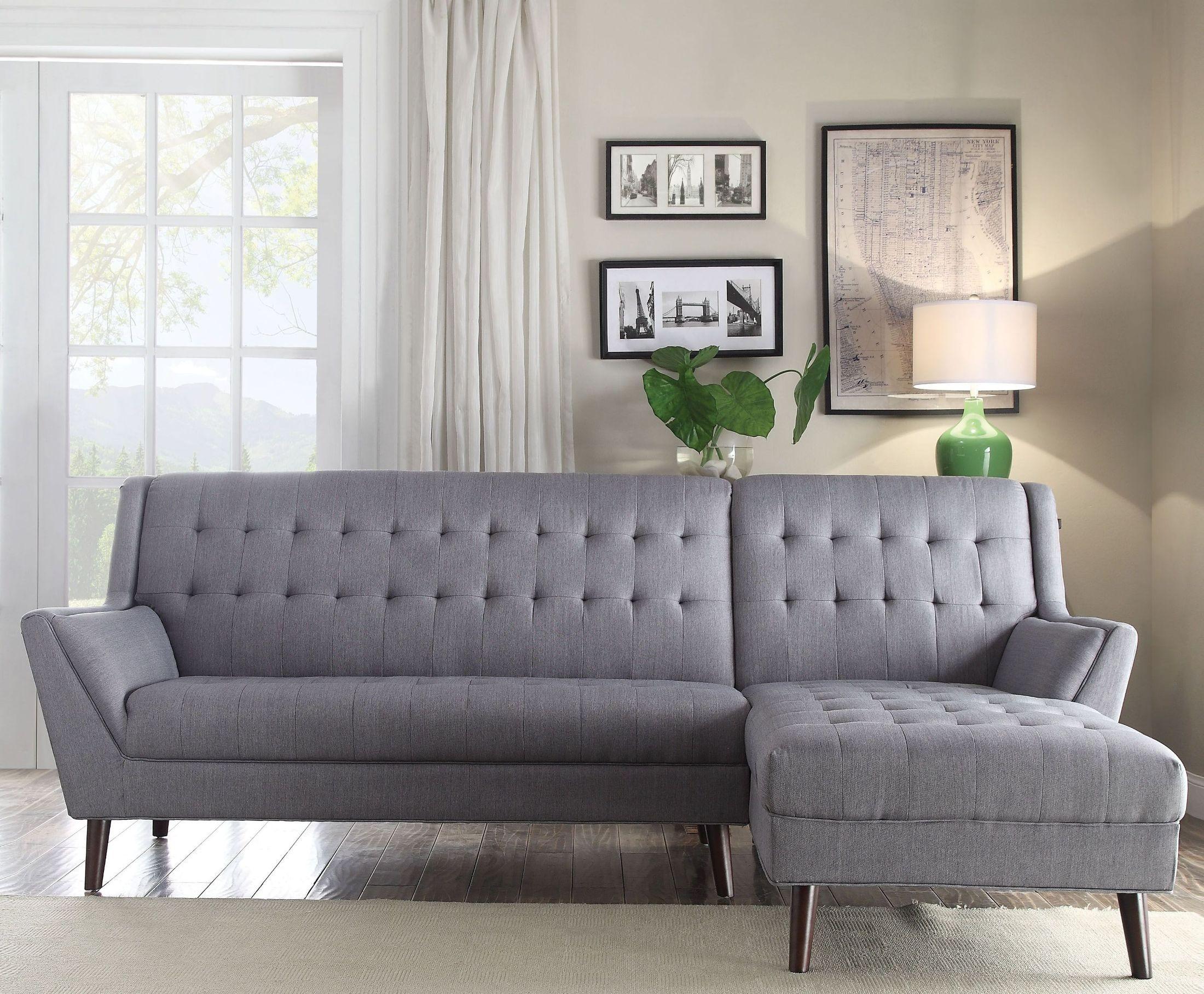 Watonga light gray linen sectional sofa