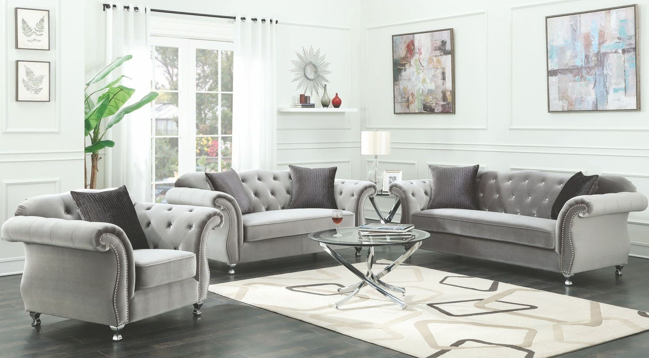 Frostine Silver Living Room Set - 1StopBedrooms.