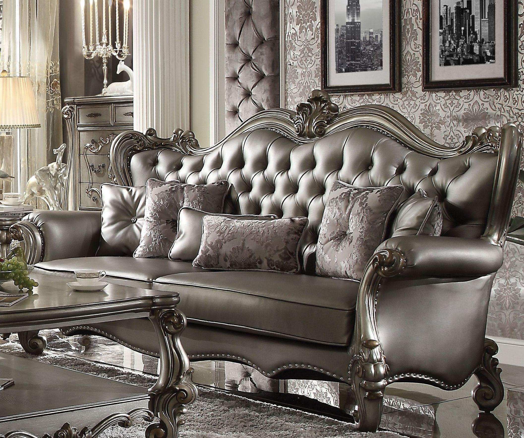Versailles Silver Antique Platinum Living Room Set