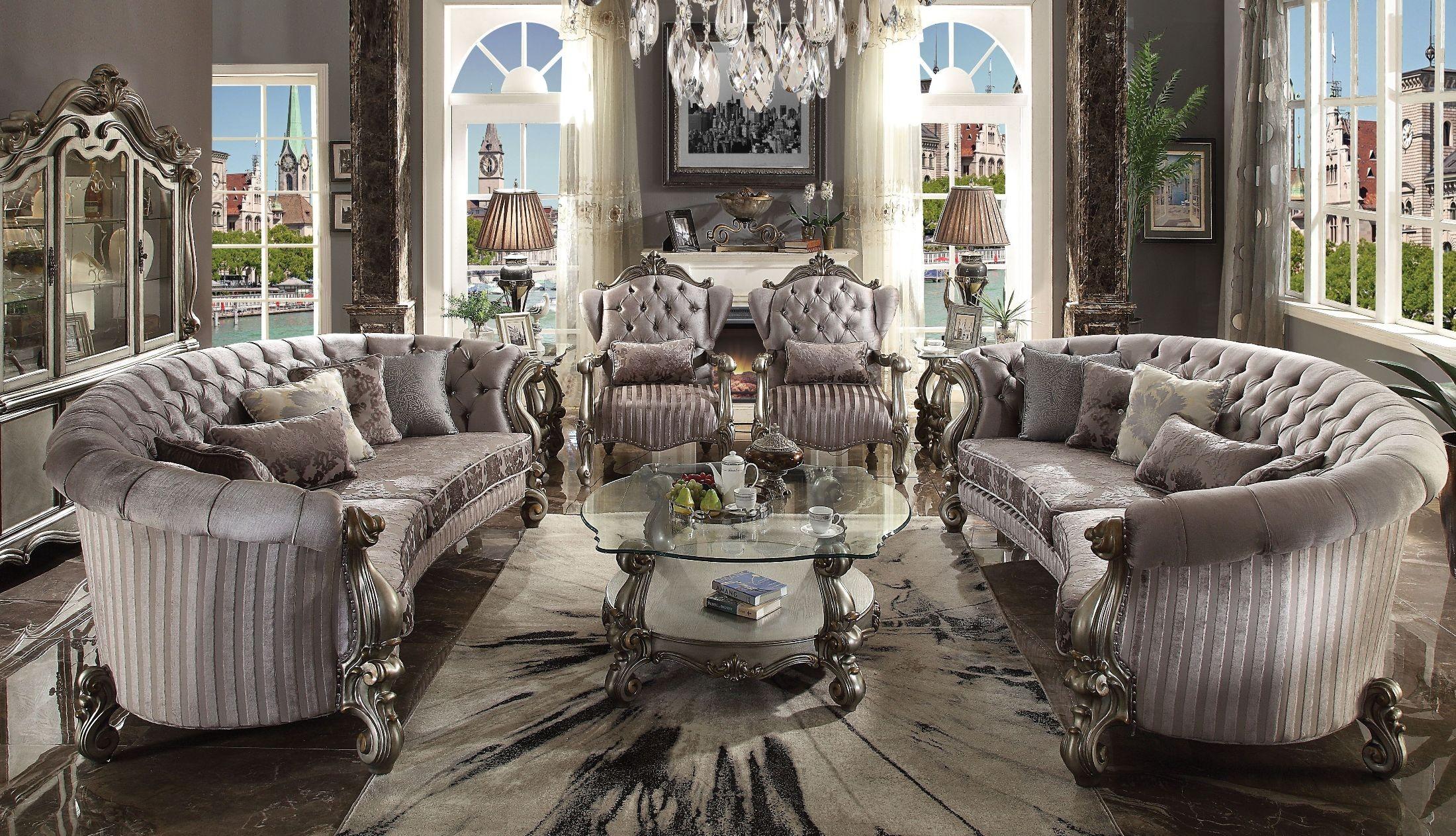 Acme Versailles Velvet And Antique Platinum Living Room