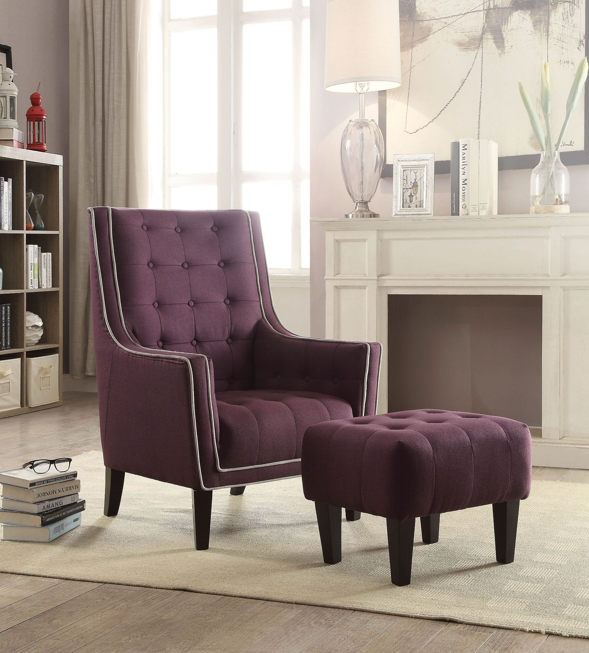 Ophelia Purple Linen Chair With Ottoman 1stopbedrooms