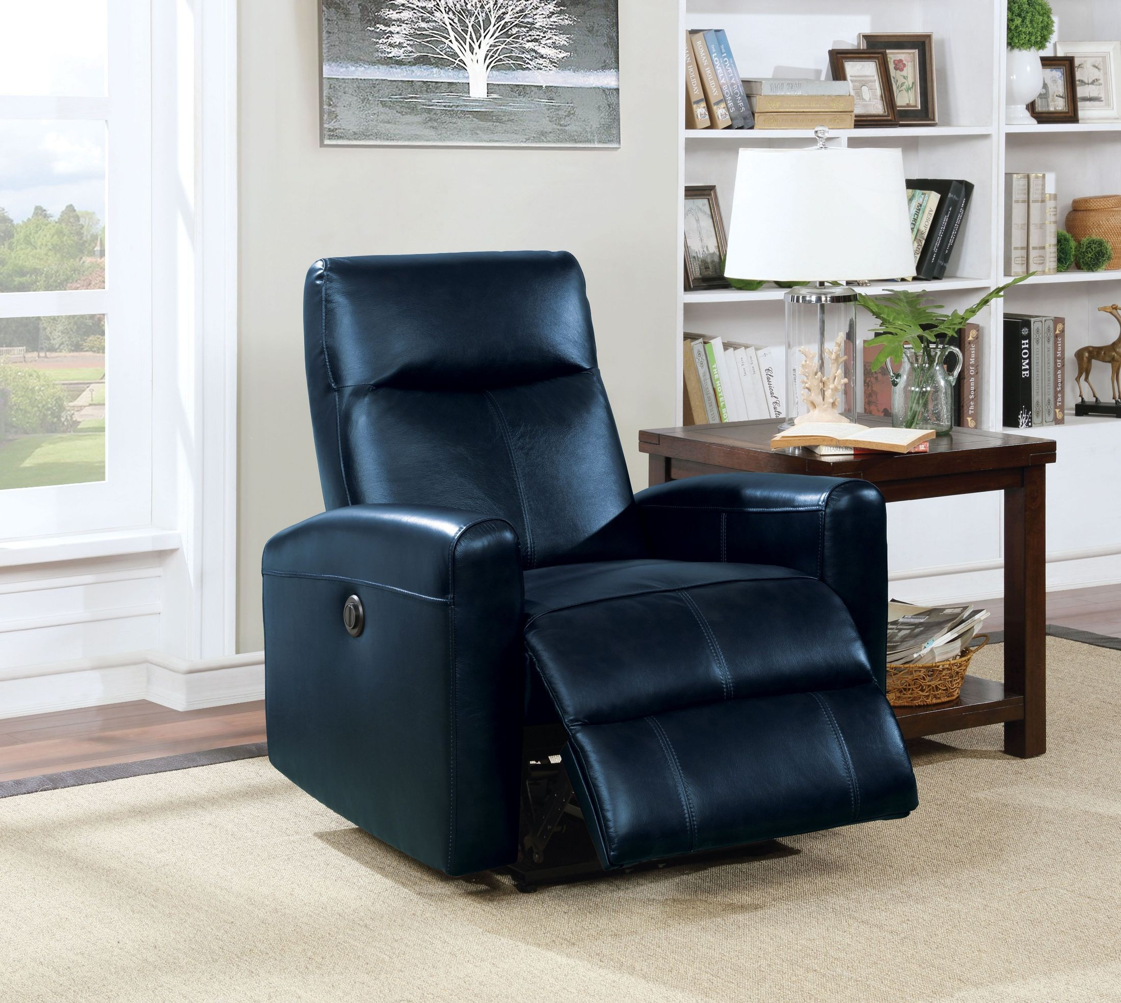Brilliant Blane Navy Blue Leather Power Recliner Gmtry Best Dining Table And Chair Ideas Images Gmtryco