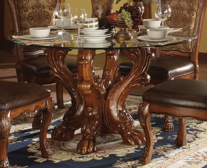 Acme Dresden 5 Pc Round Dining Table Set In Cherry Media Gallery 1