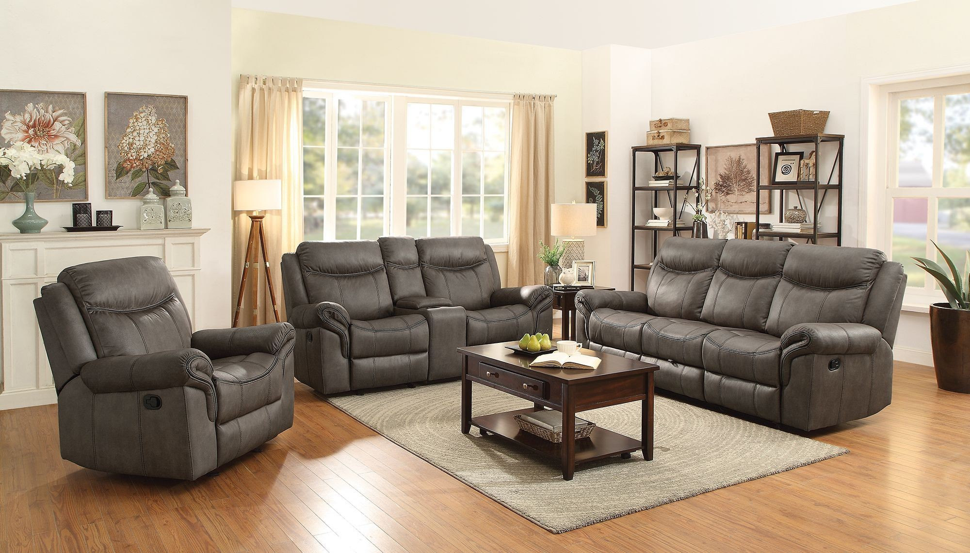 Sawyer two tone taupe motion living room set media gallery