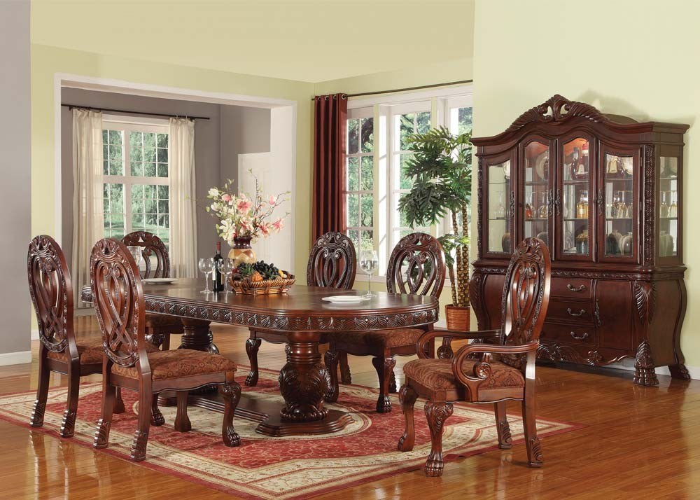 Acme Quinlan 7pc Oval Shaped Double Pedestal Dining Room