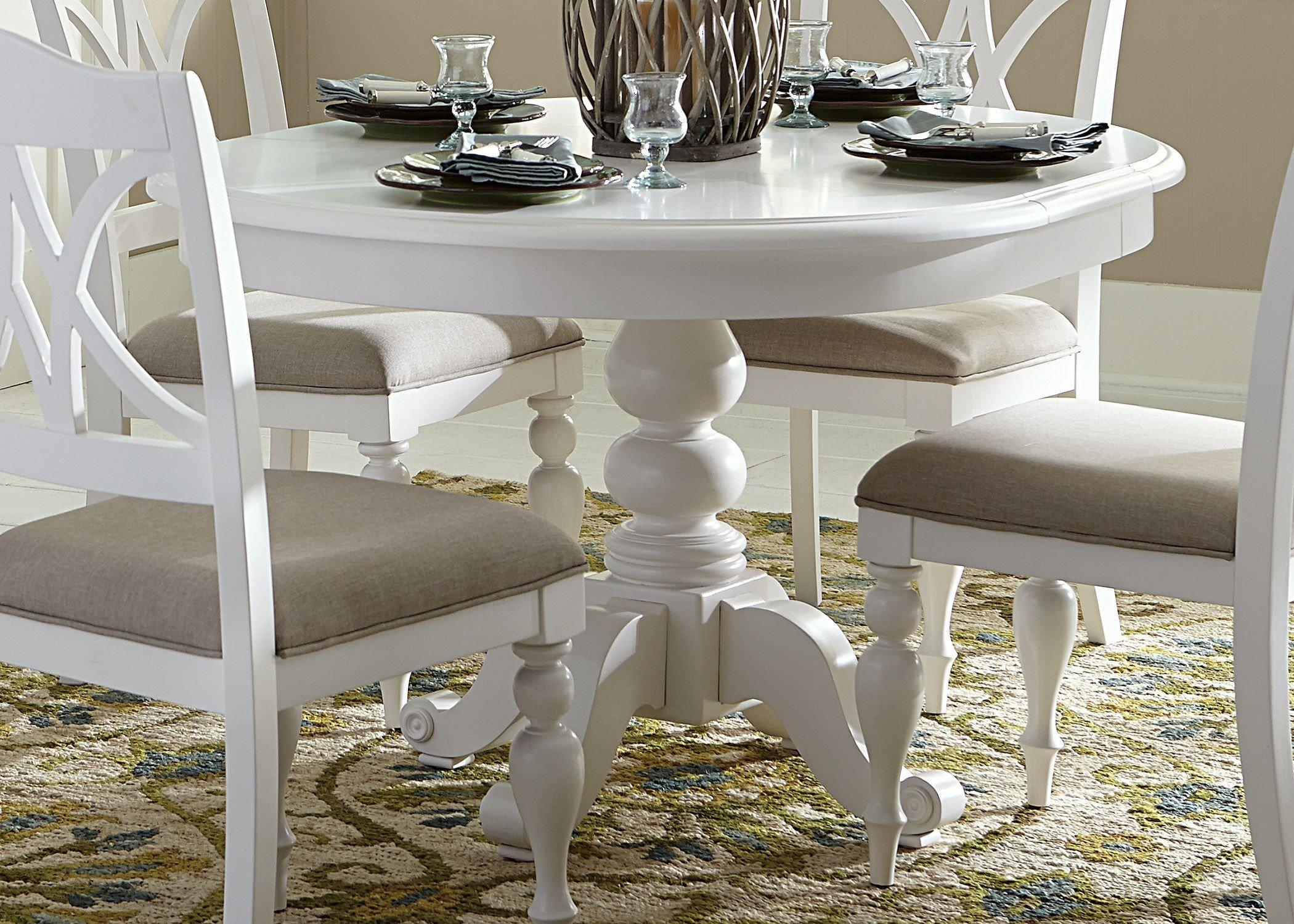 Summer House Oyster White Antique Round Pedestal Dining Room Set