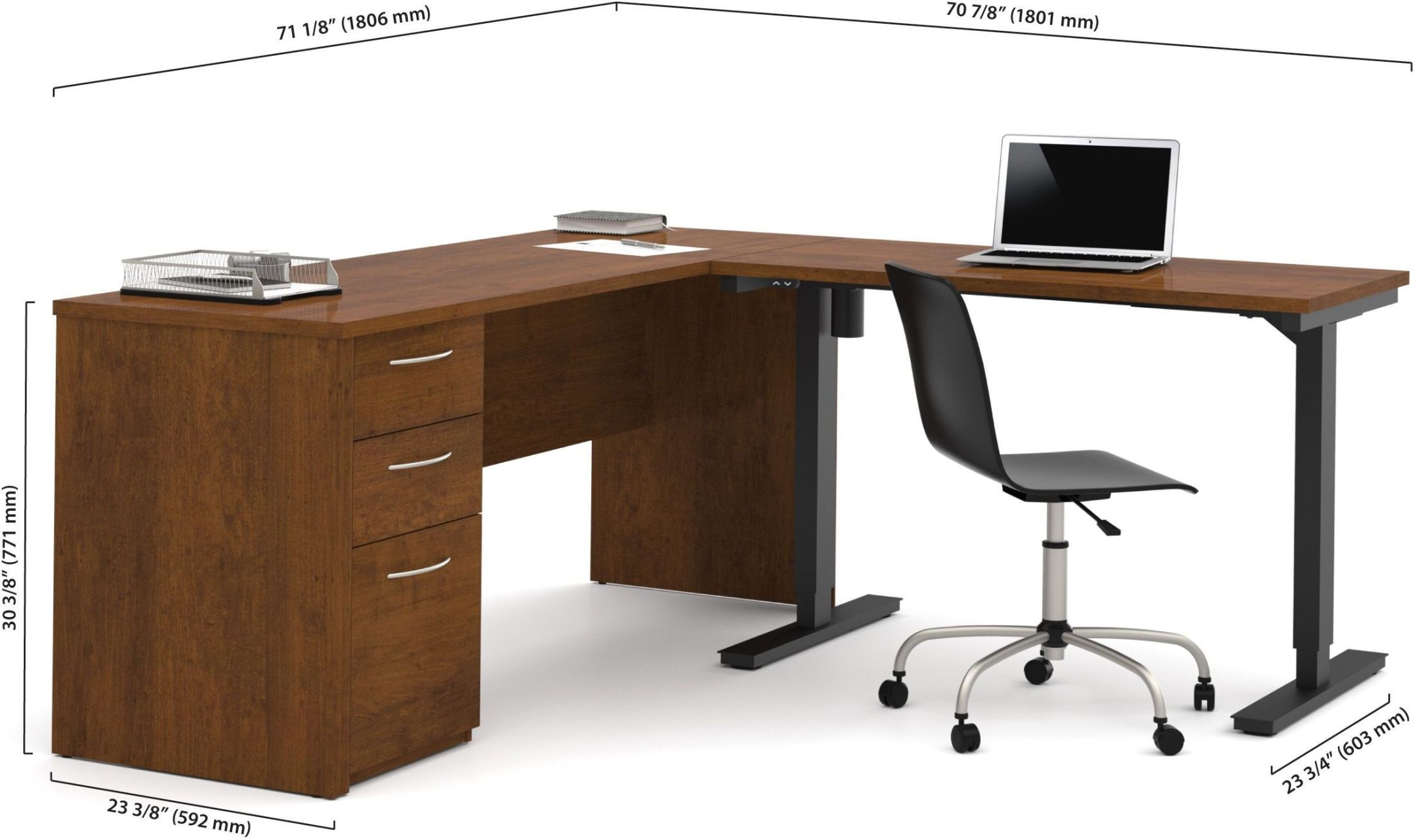 ... Embassy Tuscany Brown L Desk With Electric Adjustable Height Table  Media Gallery 1 ...