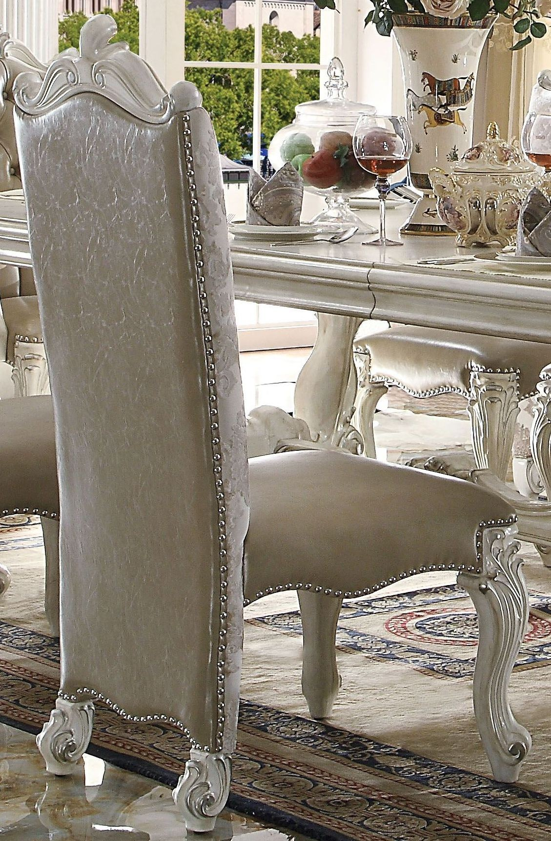 "ACME Versailles Bone White 96"" Rectangular Dining Room Set"