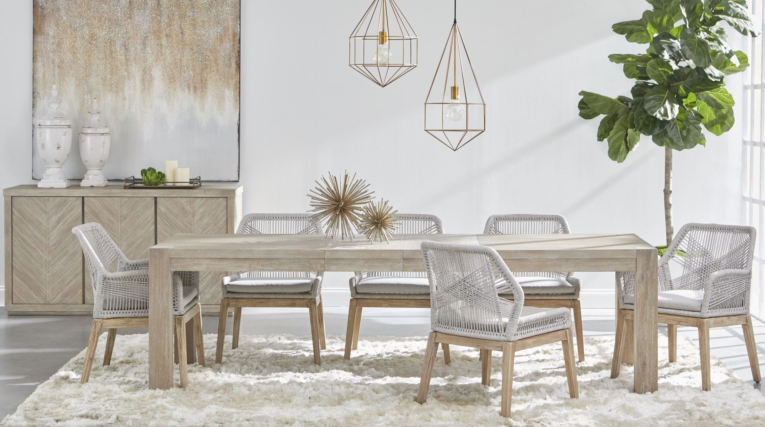 Traditions Natural Gray Adler Extendable Dining Room Set With Loom Wicker Dining Chair 1stopbedrooms