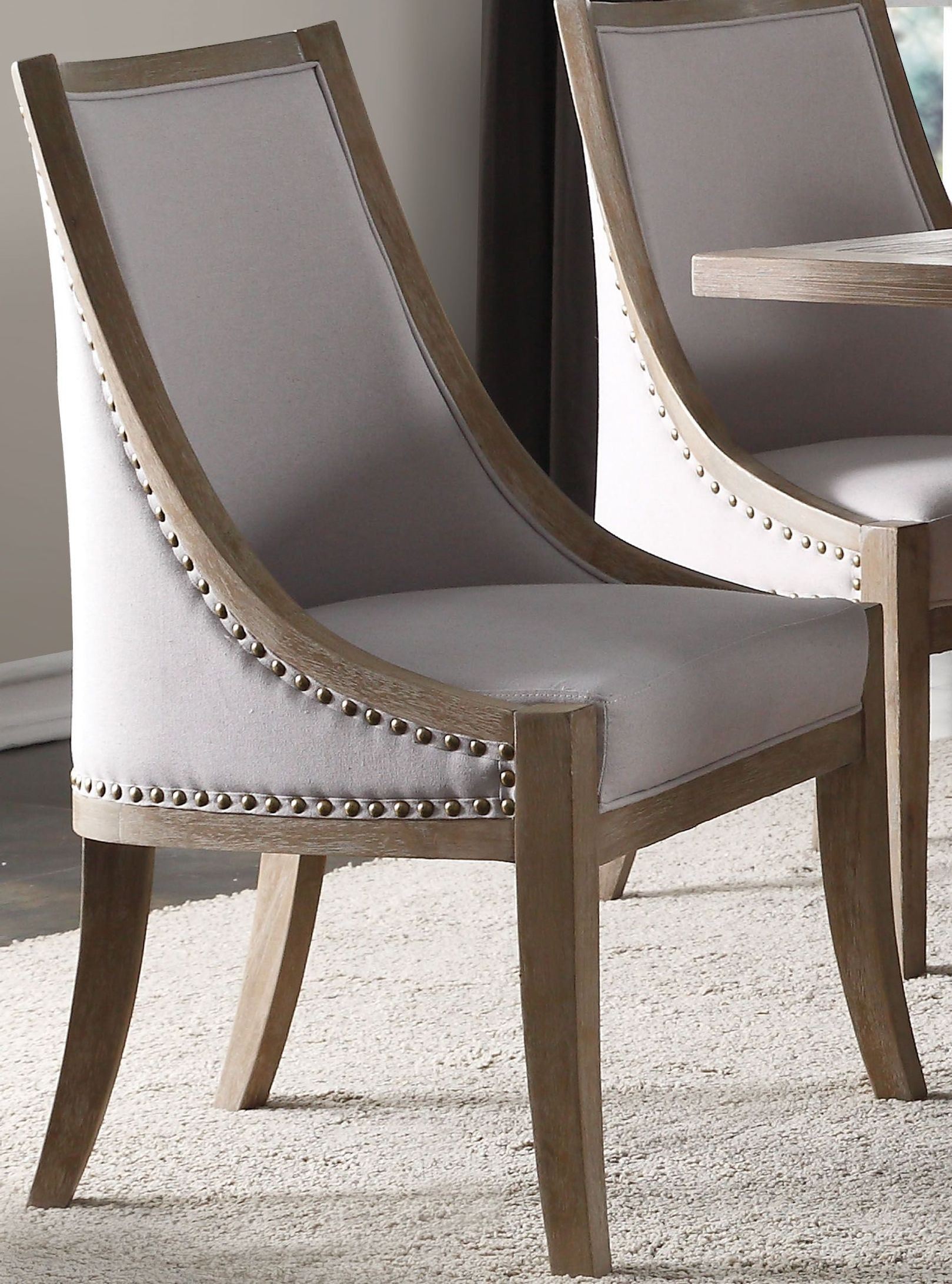 1StopBedrooms & Eleonore Taupe Linen and Weathered Oak Dining Chair