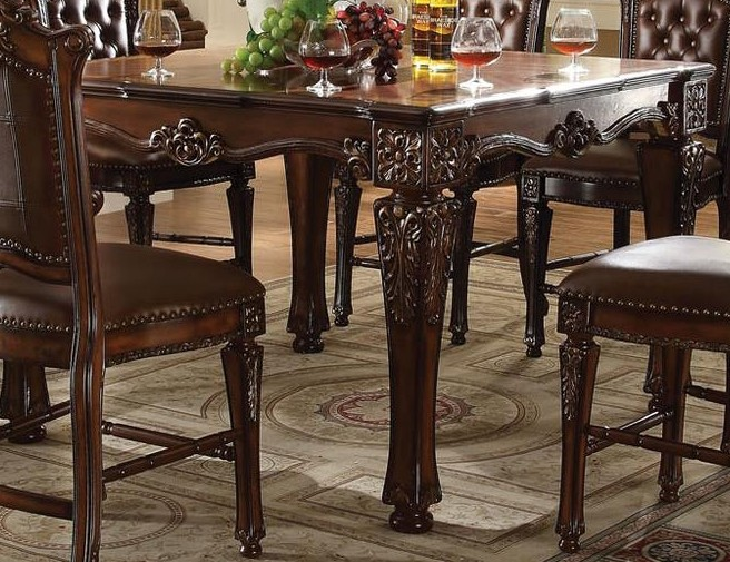 Acme Vendome 9pc Square Counter Height Dining Room Set In