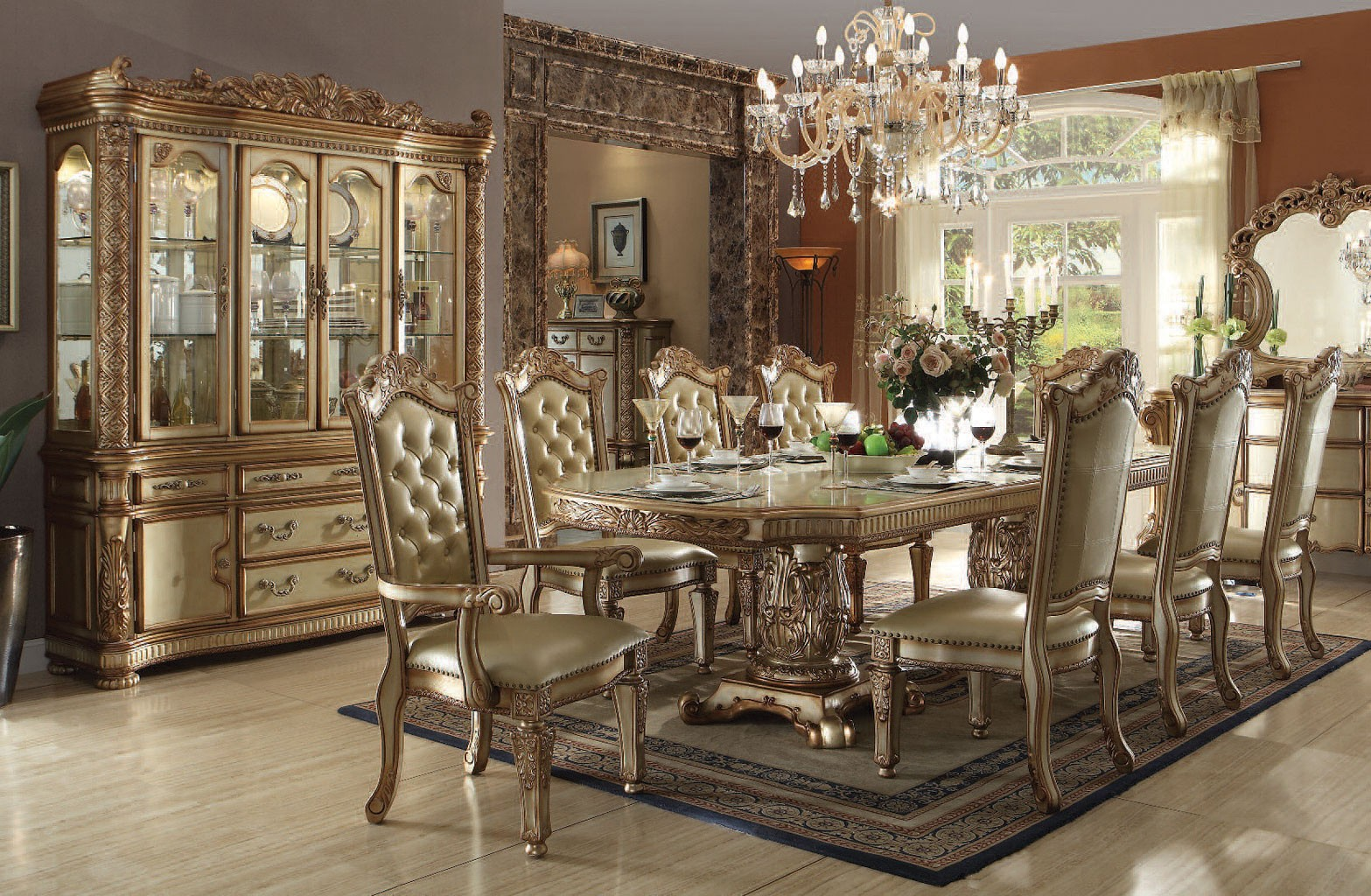 Vendome Dining Room Set Gold Patina 1stopbedrooms