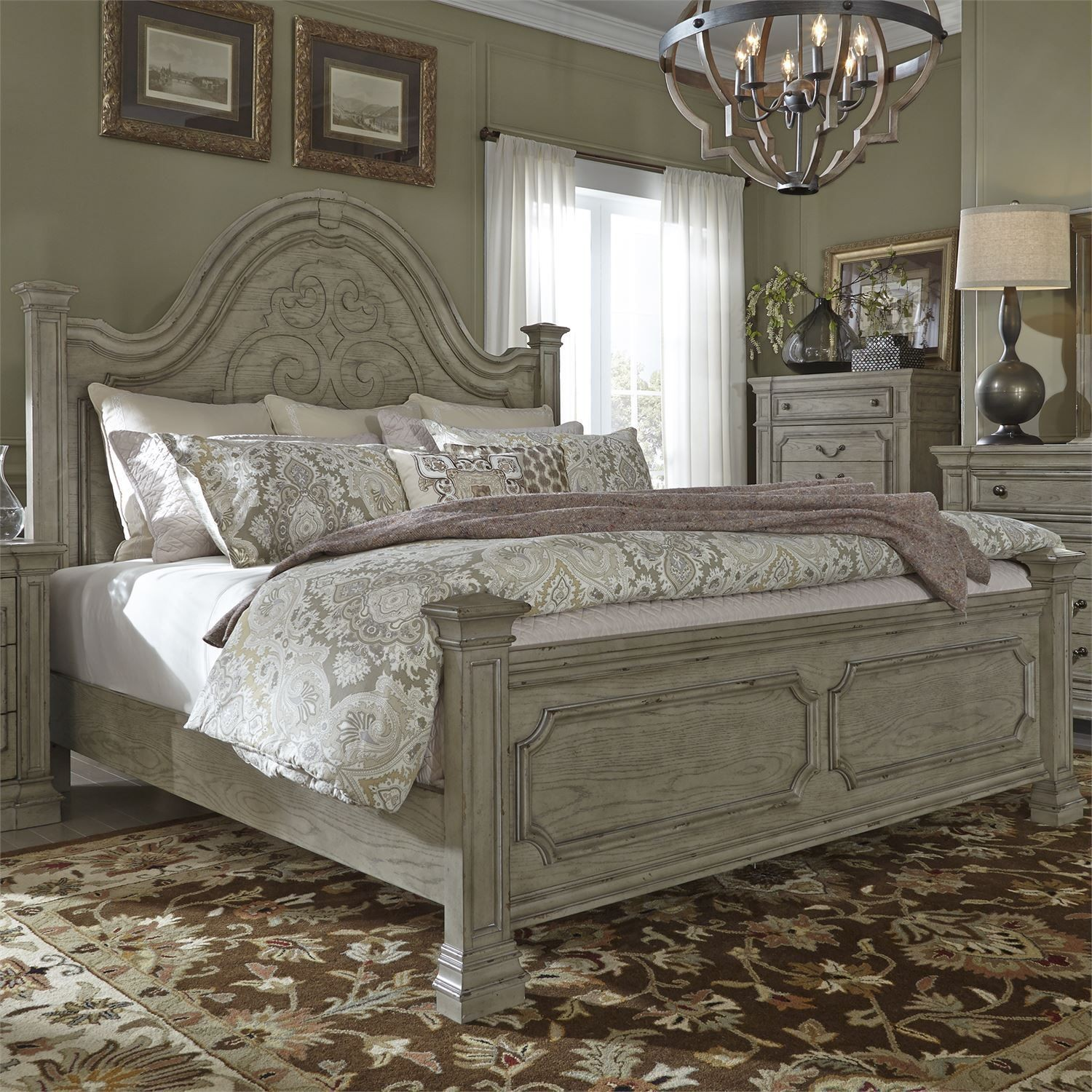Grand Estates Gray Taupe With Antique Brown Poster Bedroom