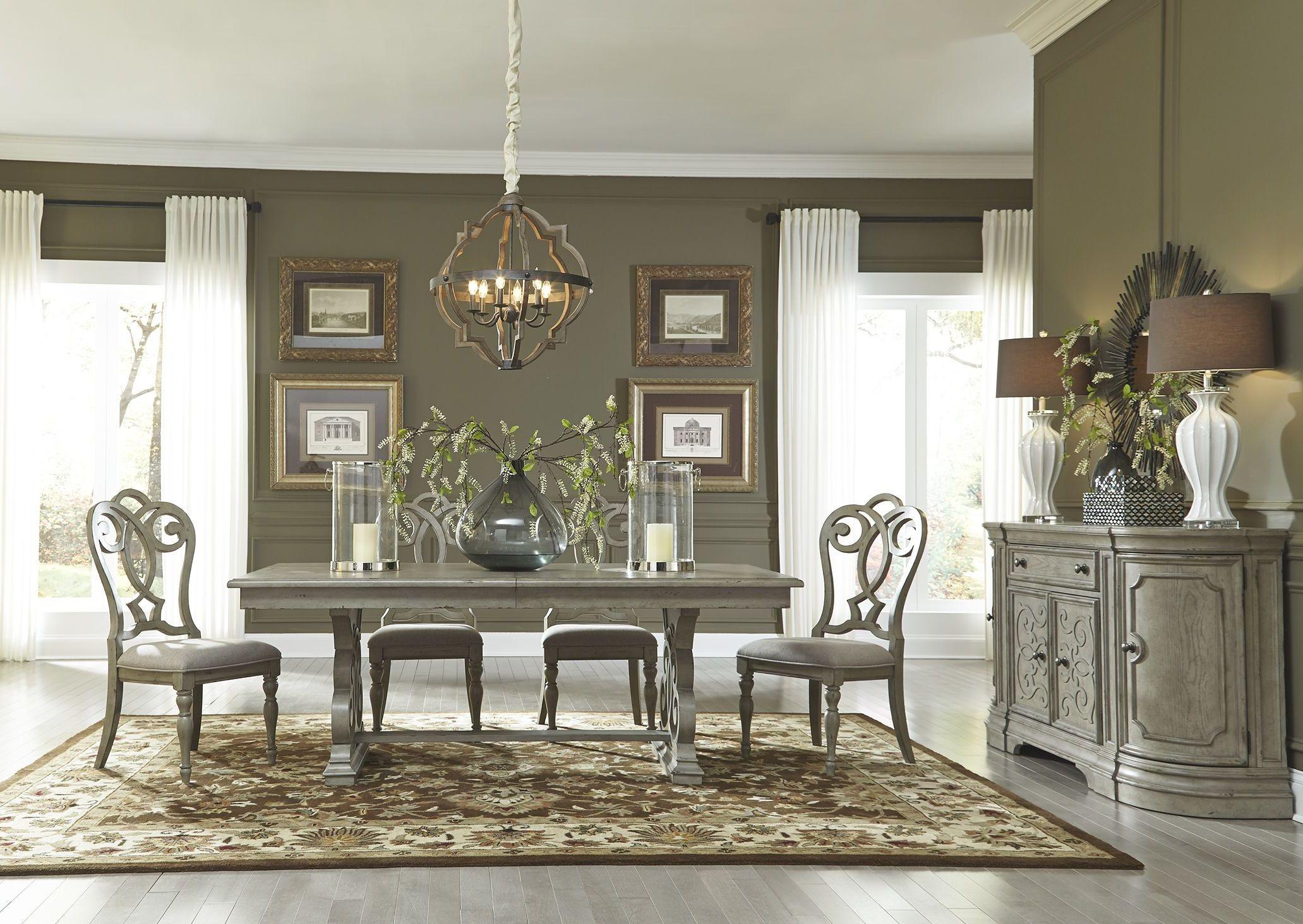 Grand Estates Gray Taupe Trestle Dining Room Set