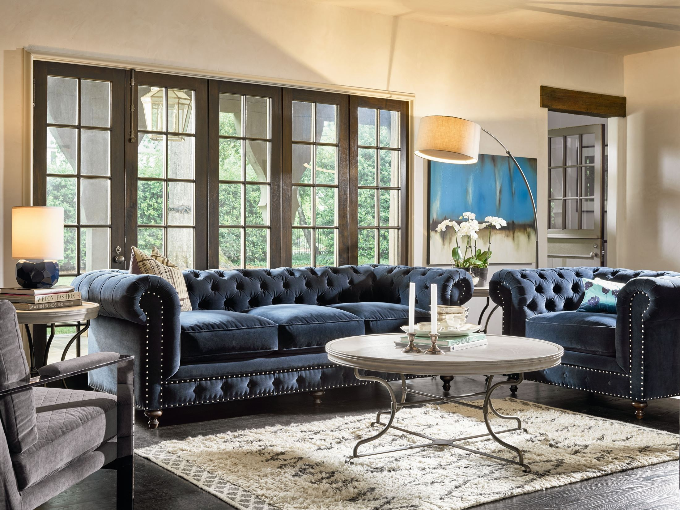 Berkeley Sumatra Blue Velvet Chair, Velvet Living Room Furniture