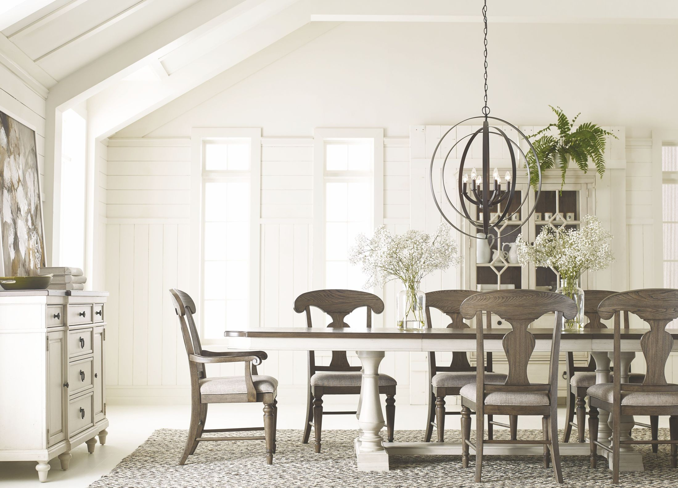Brookhaven Vintage Linen And Rustic Dark Elm Extendable Trestle Dining Room Set 1stopbedrooms