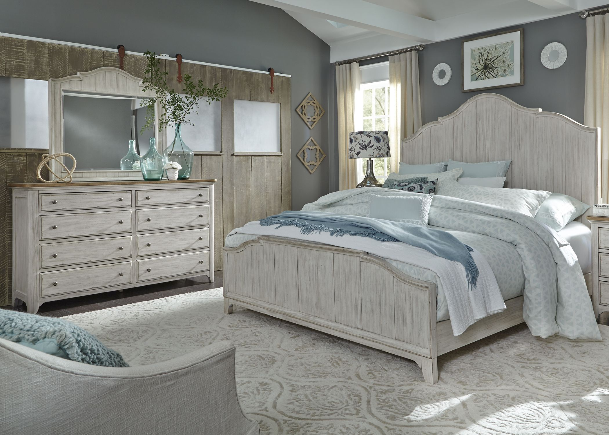 Liberty farmhouse reimagined antique white panel bedroom - White vintage bedroom furniture sets ...
