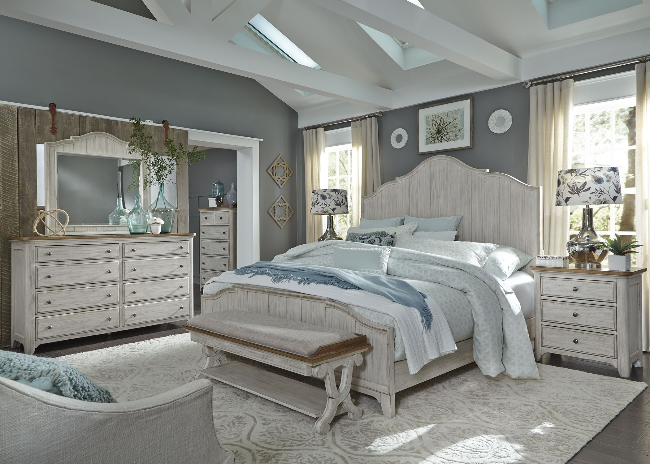 Liberty Farmhouse Reimagined Antique White Bed Bench Farmhouse