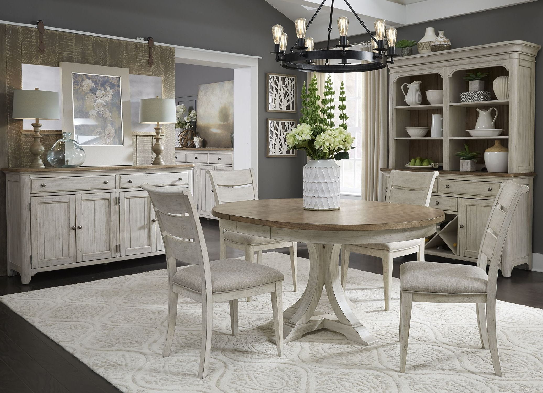 Farmhouse Reimagined Antique White Extendable Oval Dining Room Set Media Gallery 1