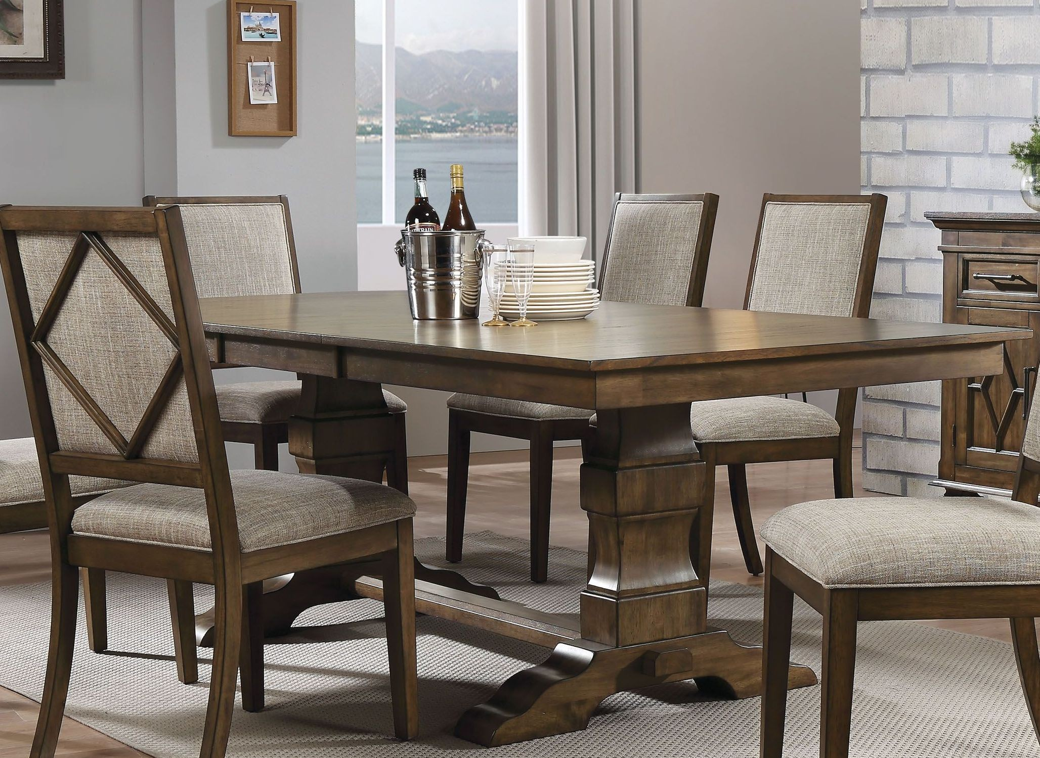 Aurodoti Oak Extendable Double Pedestal Dining Table